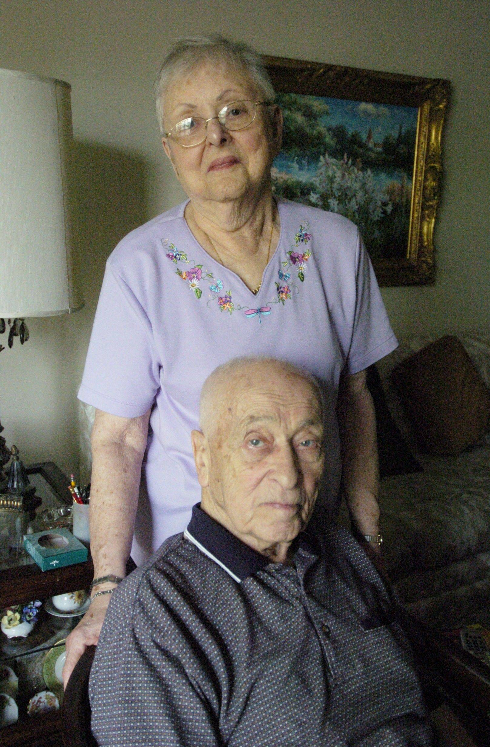 Herbert Klaber, 91, with his wife, Marcia, at their Morton Grove home.