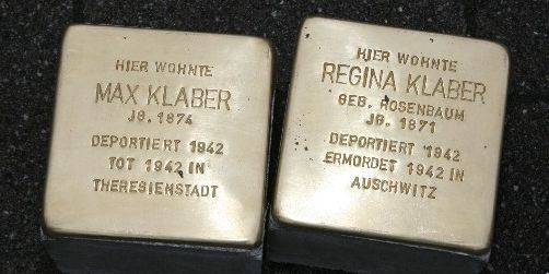 These plaques top the stumbling stones for Max and Regina Klaber.