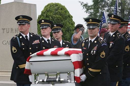 "Military pallbearers carry the casket of U.S. Army Specialist Richard C. ""Richie"" Emmons III into Lawnside Cemetery in Woodstown, N.J., Saturday, June 11, 2011. Emmons died from shrapnel wounds received when his unit came under attack by enemy forces in Logar Province, Afghanistan on May 31, 2011. Emmons was raised in the Woodstown area until age 14 when he moved with his family to North Granby, Conn. Services and burial were held in Woodstown Saturday. Hundreds turned out to pay their respects to Emmons."