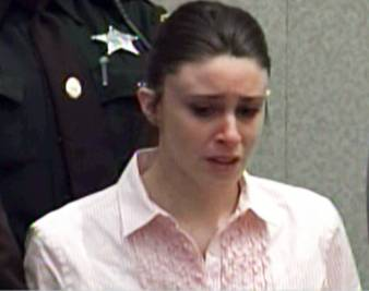Casey Anthony listening to the not guilty verdicts in the death of her 2-year-old daughter Caylee.