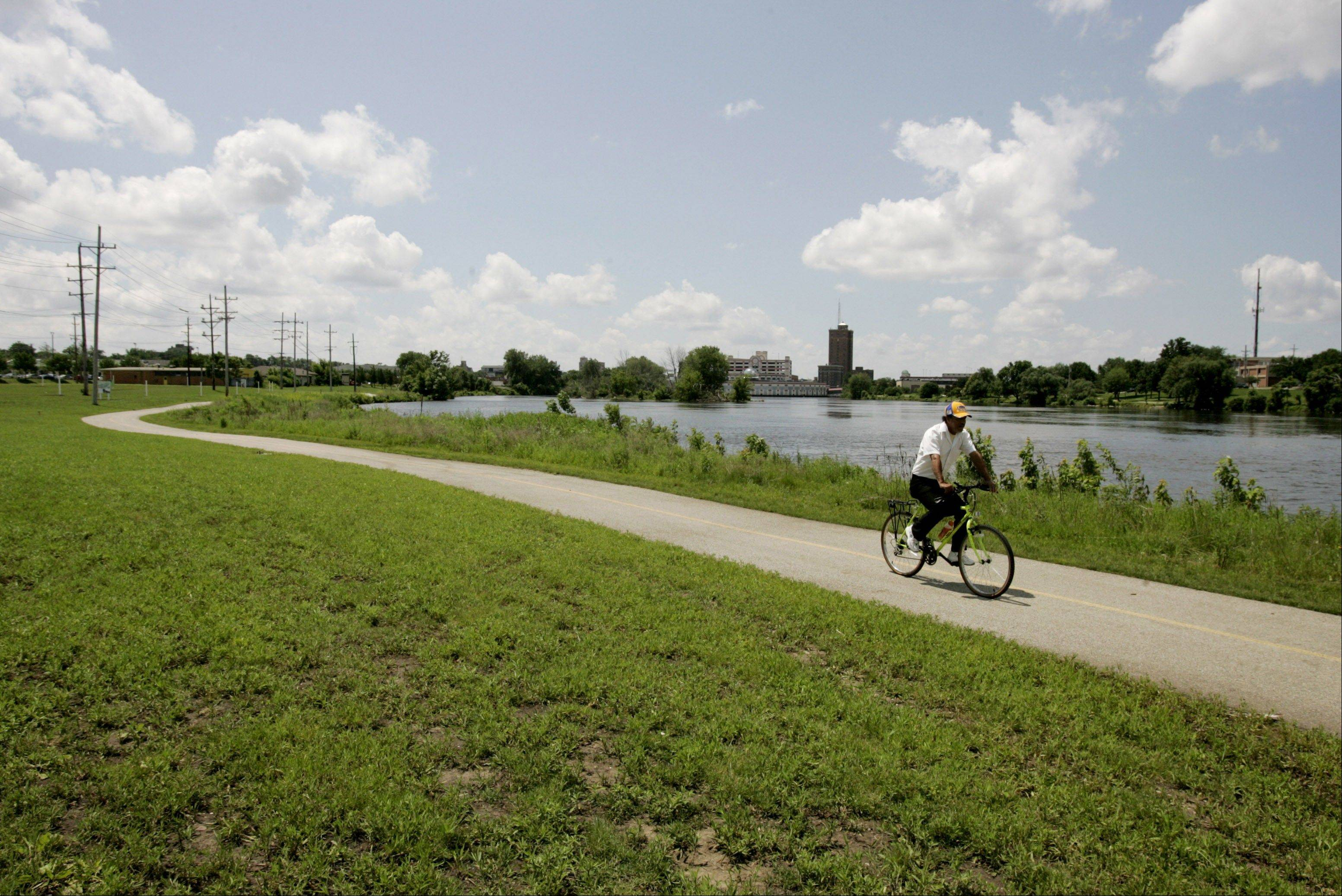 RiverEdge Park will be built on both sides of the Fox River just north of downtown Aurora.