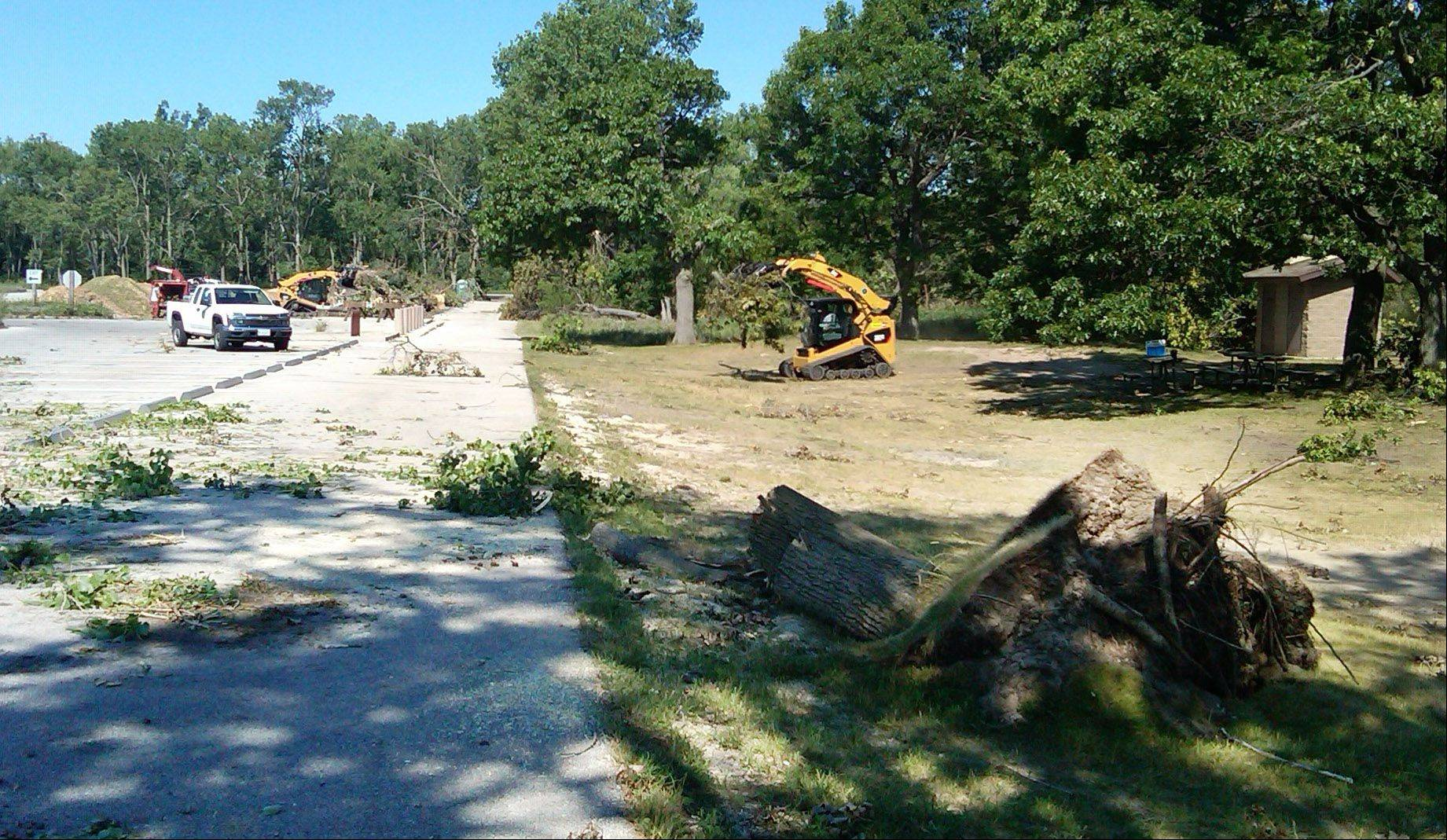 Lake County Forest Preserve District crews help clear debris from a storm last week at Adeline Jay Geo-Karis Illinois Beach State Park.