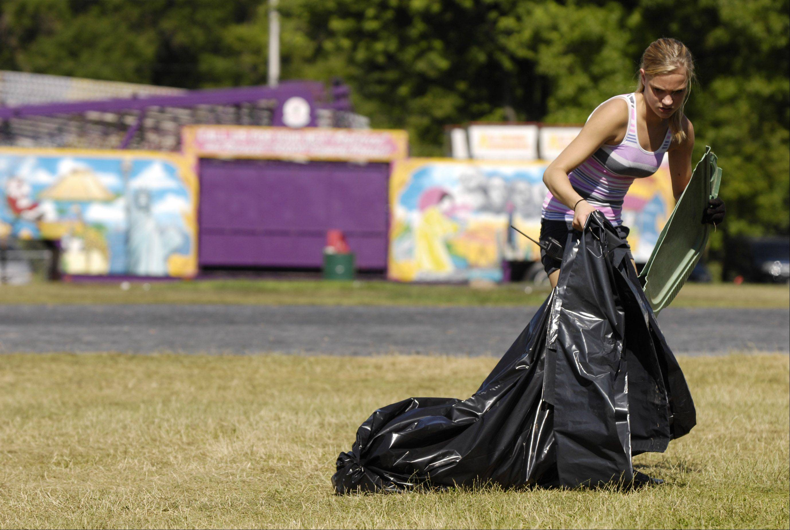 With this year's Ribfest in the history books, the task of cleaning up the grounds falls to people like Shelby Stephens of Naperville, who worked several days at the festival as part of the cleaning crew.