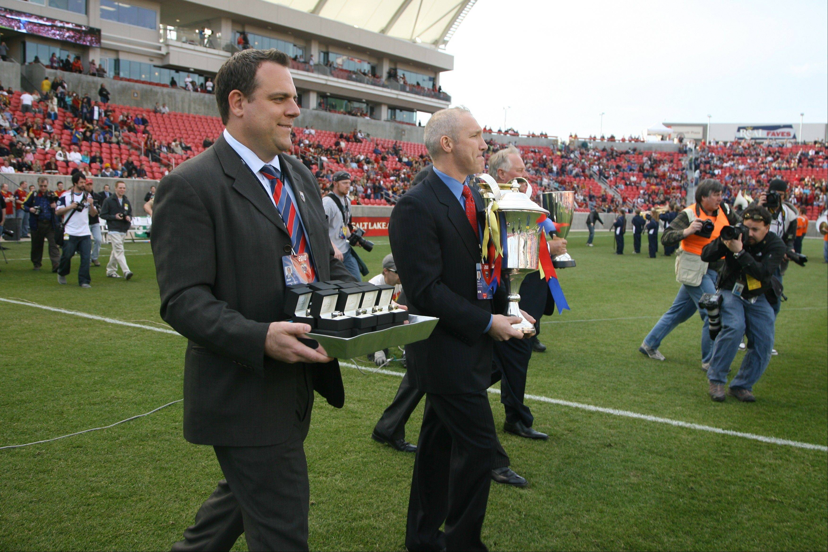 Real Salt Lake has made a habit of winning since Elmhurst native Garth Lagerwey, left, took over as general manager in 2007. His roster includes several players with ties to the Chicago suburbs.