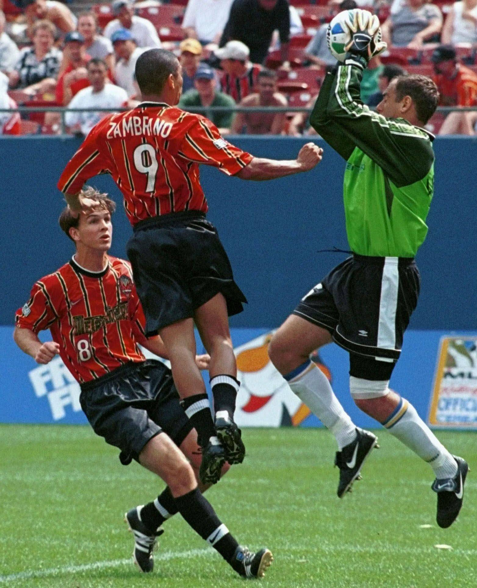 Miami Fusion goalkeeper Garth Lagerwey, right, saw action in this 1999 game. After retiring from MLS, Lagerwey made it back to the league to become general manager of the Real Salt Lake franchise.