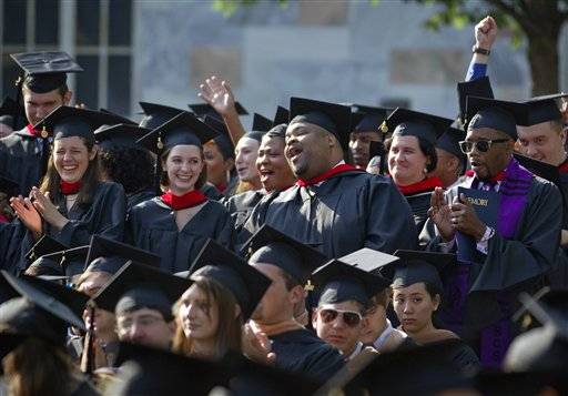 In this May 9, 2011 photo, graduates of the School of Theology celebrate during Emory University's commencement ceremony, in Atlanta. School isn't over just yet for new college graduates. The next test is figuring out how to repay those student loans.