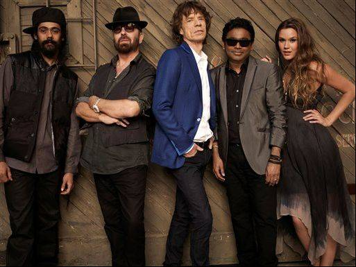 Reggae maestro Damian Marley, from left, Eurythmics co-founder Dave Stewart, Rolling Stones rocker Mick Jagger, composer A.R. Rahman and singer Joss Stone are collaborating in a new band called SuperHeavy.