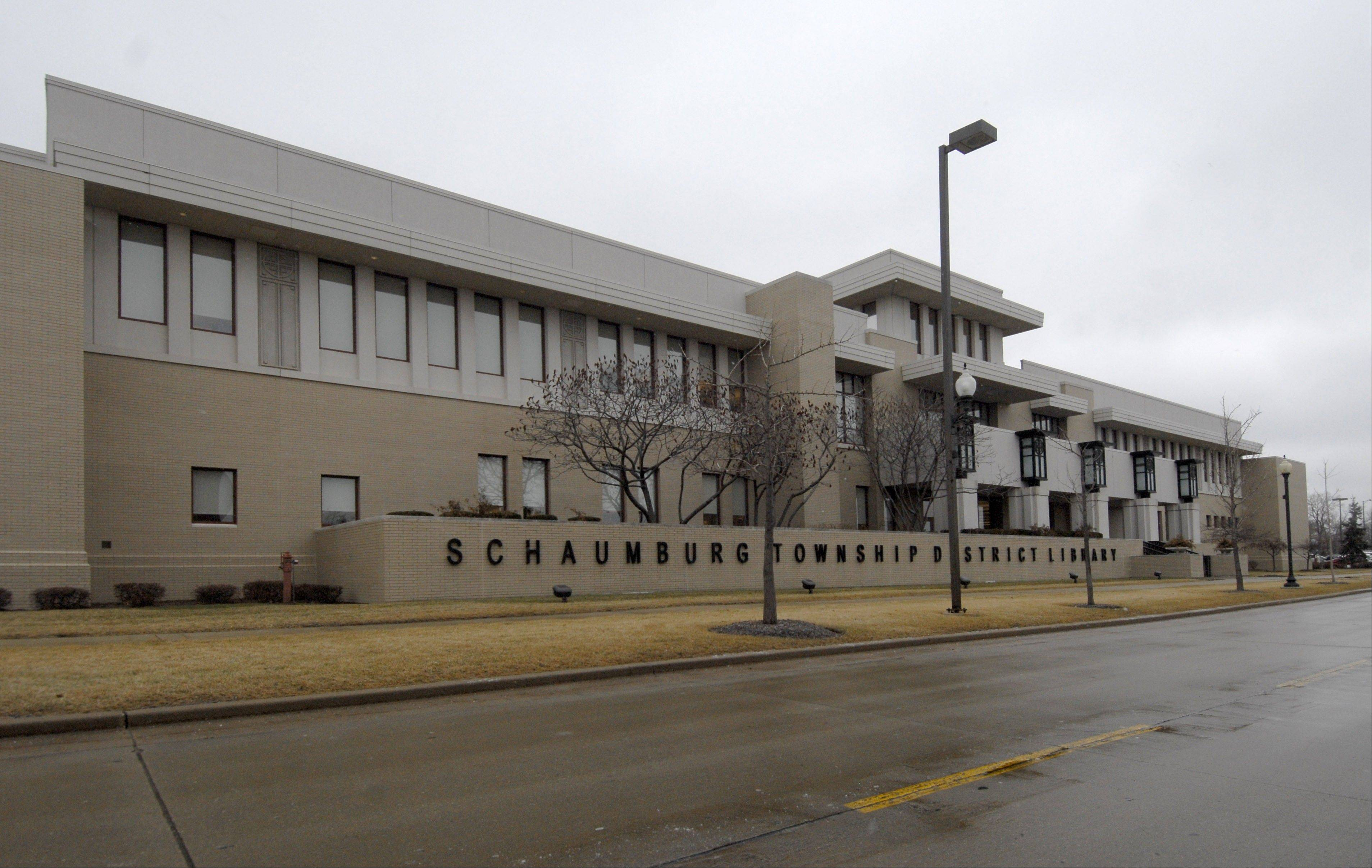 The Schaumburg Township District Library, at Schaumburg and Roselle Road.