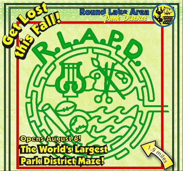 The Round Lake Area Park District's logo will be cut into one of the corn mazes at Richardson Adventure Farm near Spring Grove.
