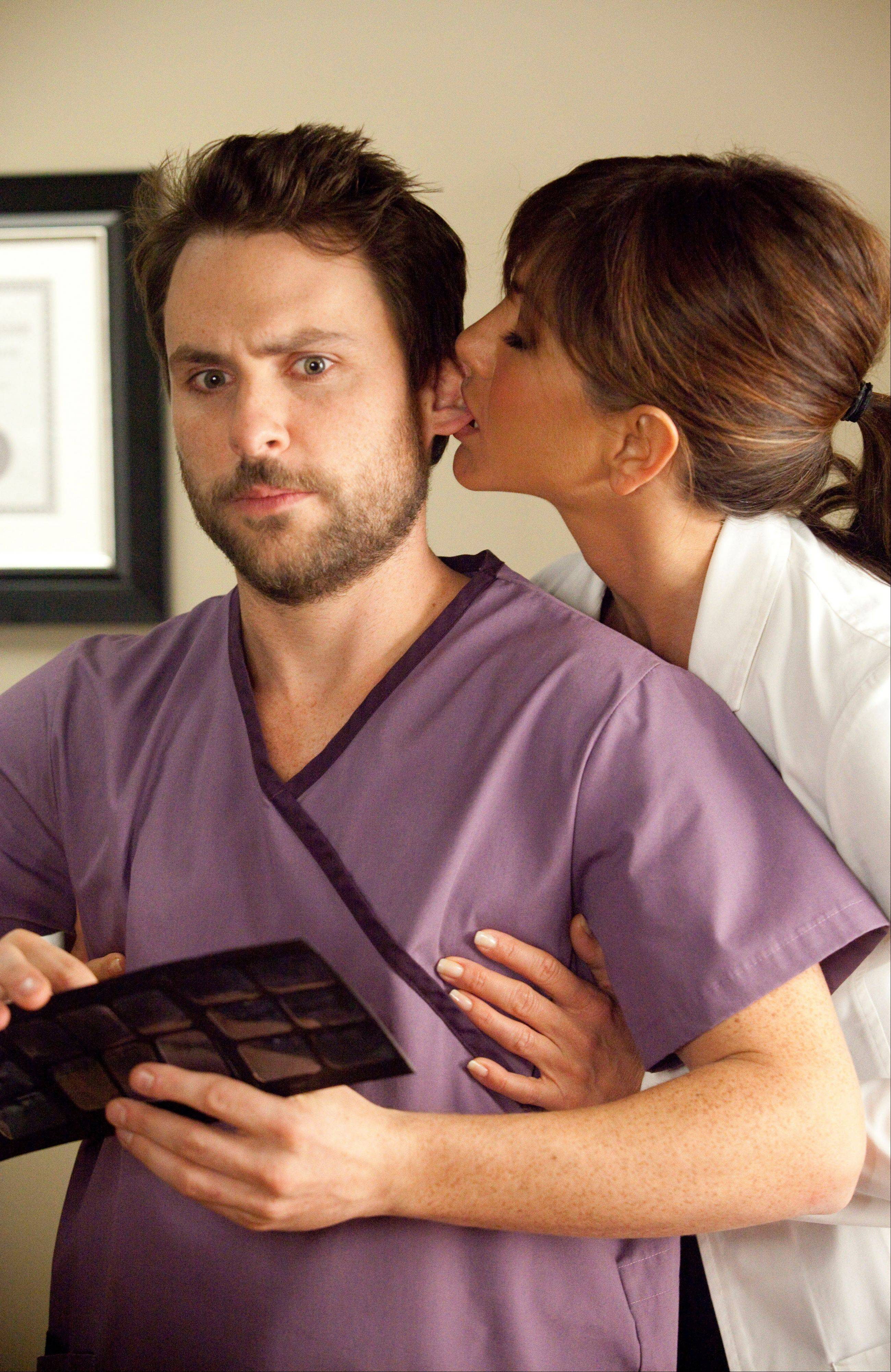 "Dental assistant Dale (Charlie Day) can't stand sexual harassment from his nymphomaniac boss (Jennifer Aniston) in the comedy ""Horrible Bosses."""