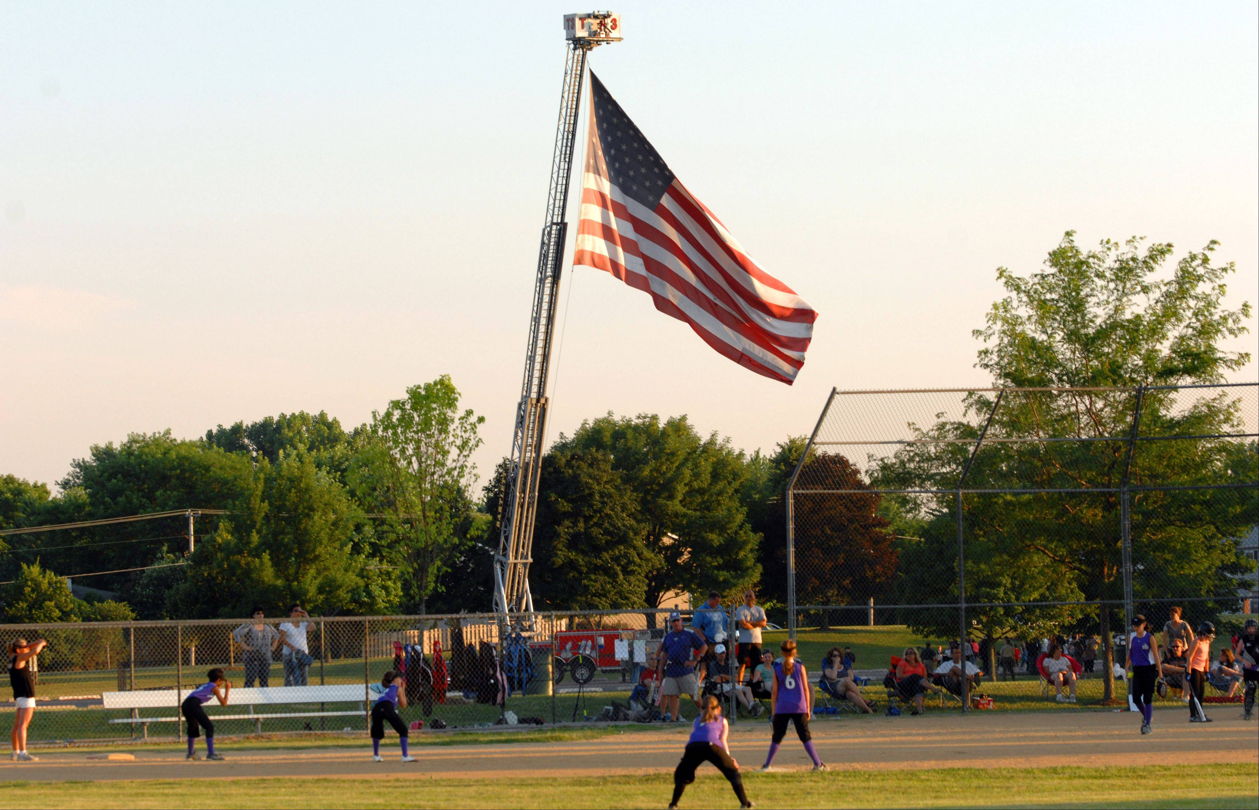 Baseball and the American flag come together in Bartlett.