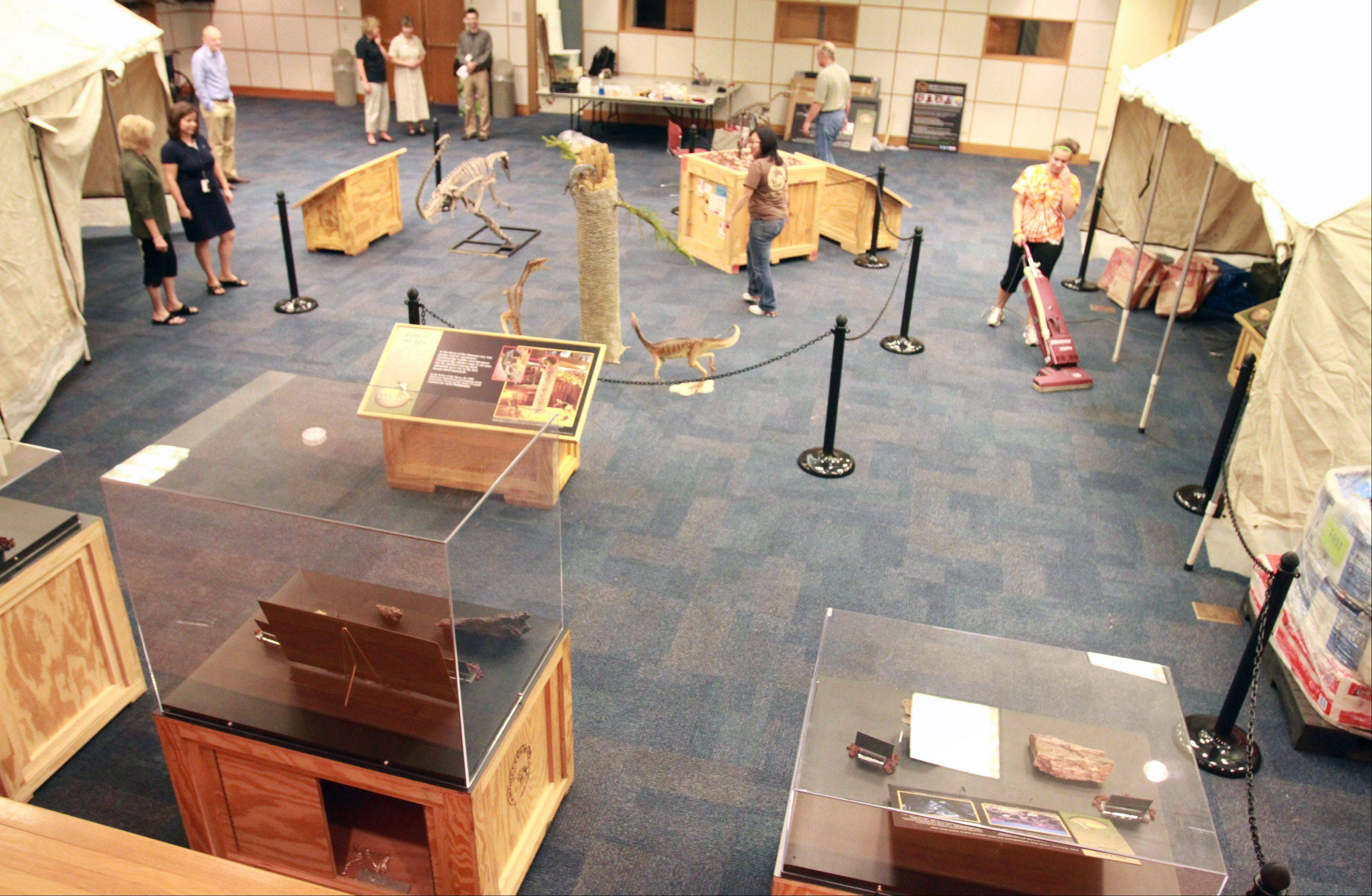 """Origins, The Dawn of Dinosaurs,"" exhibit at the Arlington Heights Memorial Library on Thursday."