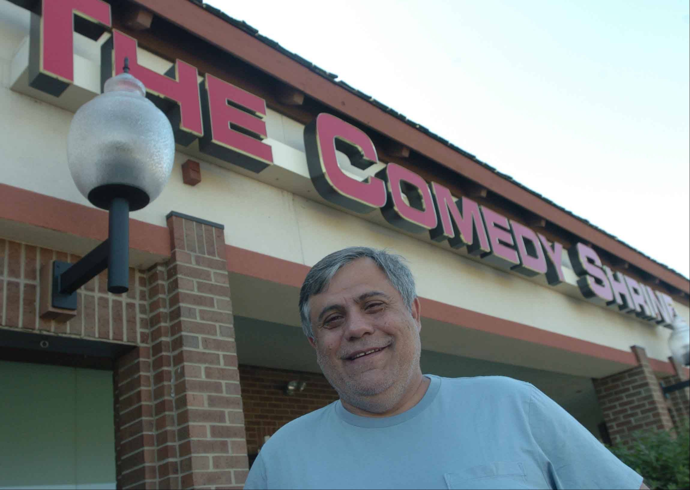 Dave Sinker, owner of The Comedy Shrine, says his new venue will have a true theater feel when it reopens today in Aurora.