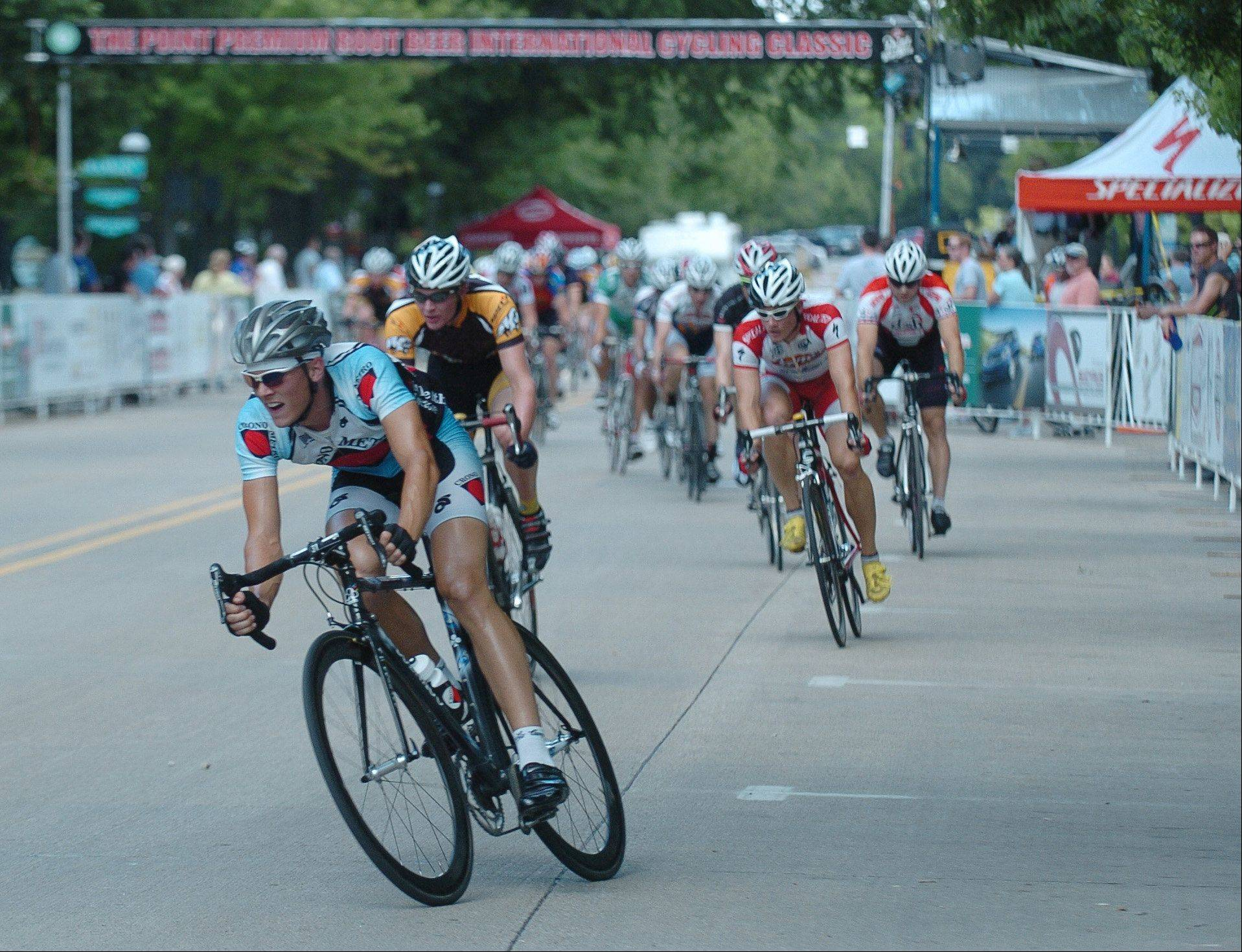 Cyclists race in last year's Mill Race Cyclery Classic in Geneva. This year there will be approximately 100 to 125 cyclists in each of seven races of the Geneva Cycling Grand Prix, which begins at 10 a.m. Saturday. The event is sponsored by Bicycle Heaven in Geneva.