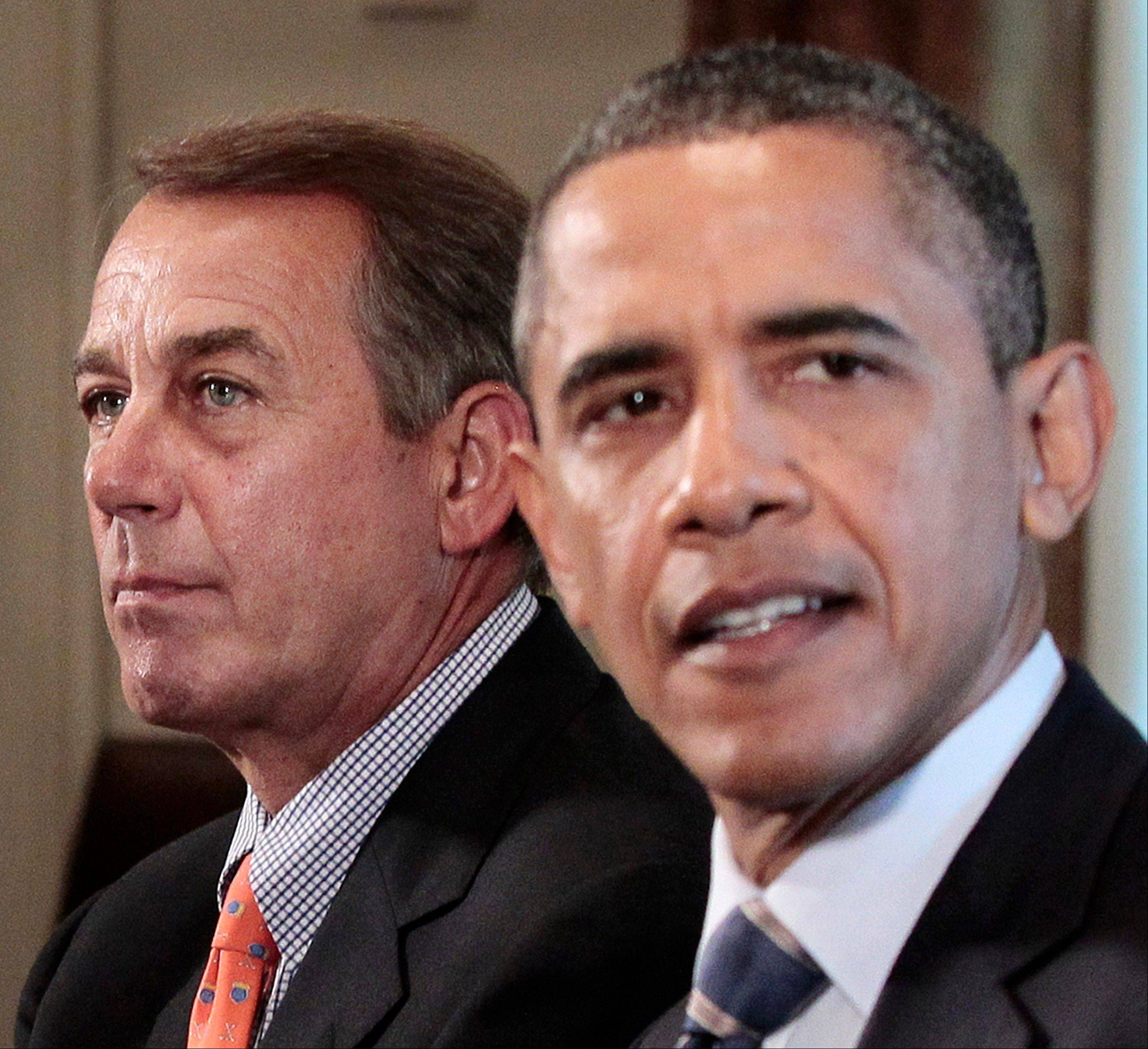 House Speaker John Boehner of Ohio listens as President Barack Obama speaks during a meeting with congressional leadership to discuss the debt Thursday at the White House.