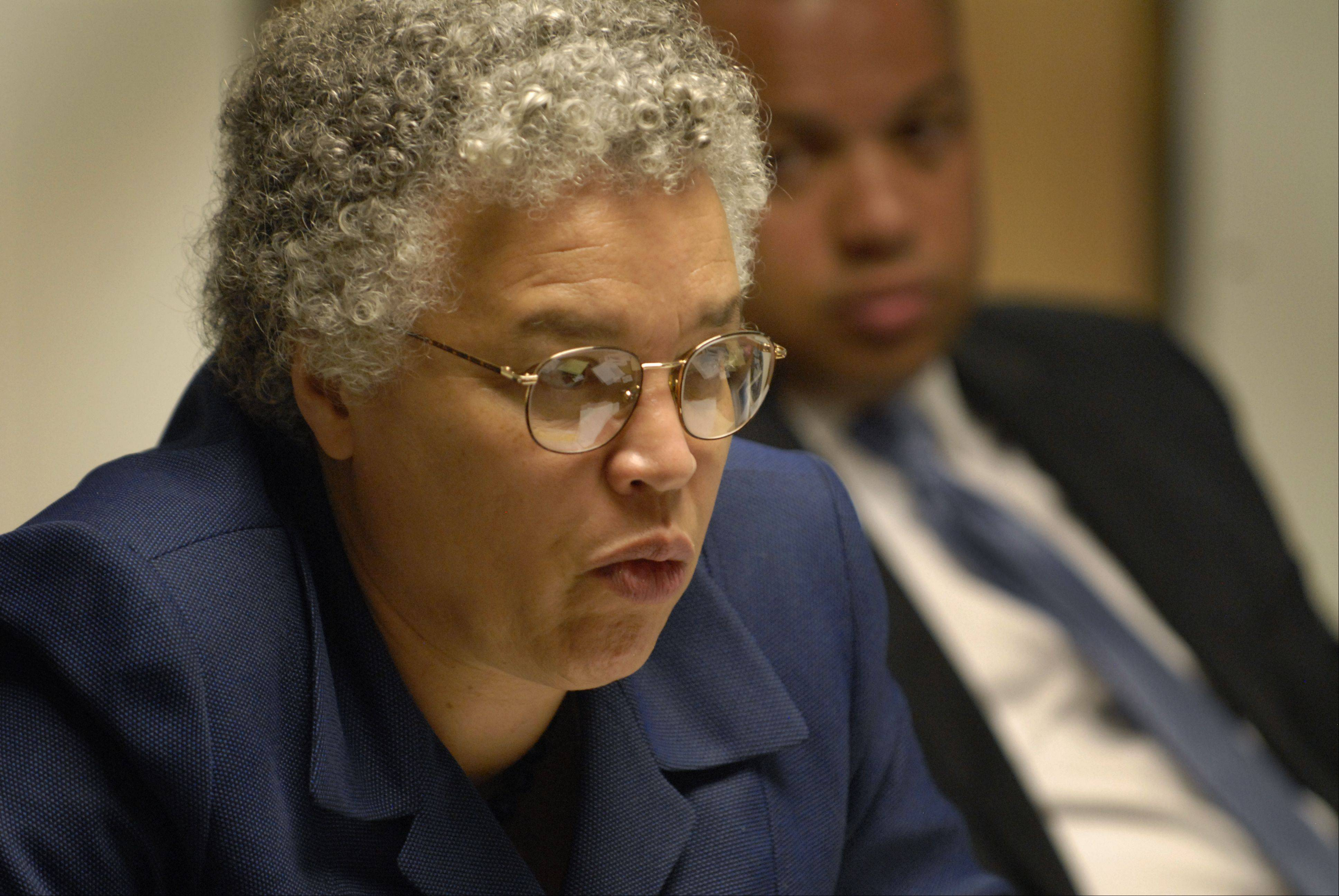 Cook County Board President Toni Preckwinkle met Wednesday with the Daily Herald Editorial Board to outline performance measurements for all county agencies.