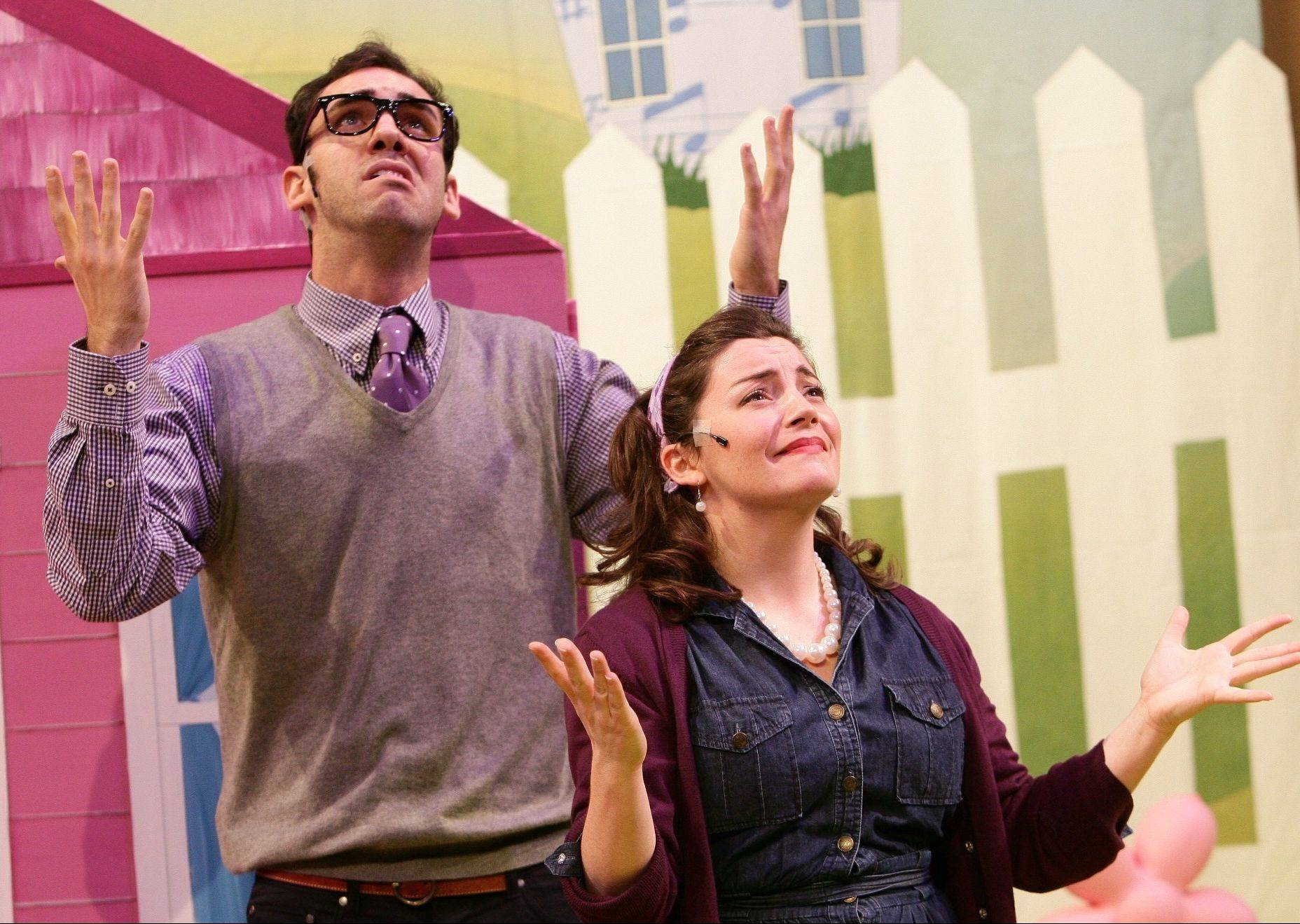 "Mr. and Mrs. Pinkerton (Patrick Byrnes, left, and Rachel Klippel) don't know what to do with their cupcake-loving daughter in ""Pinkalicious."""