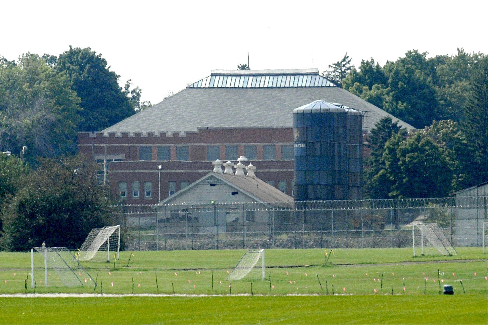 The Illinois Youth Center in St. Charles, seen from the soccer fields of neighboring Westside Community Park.
