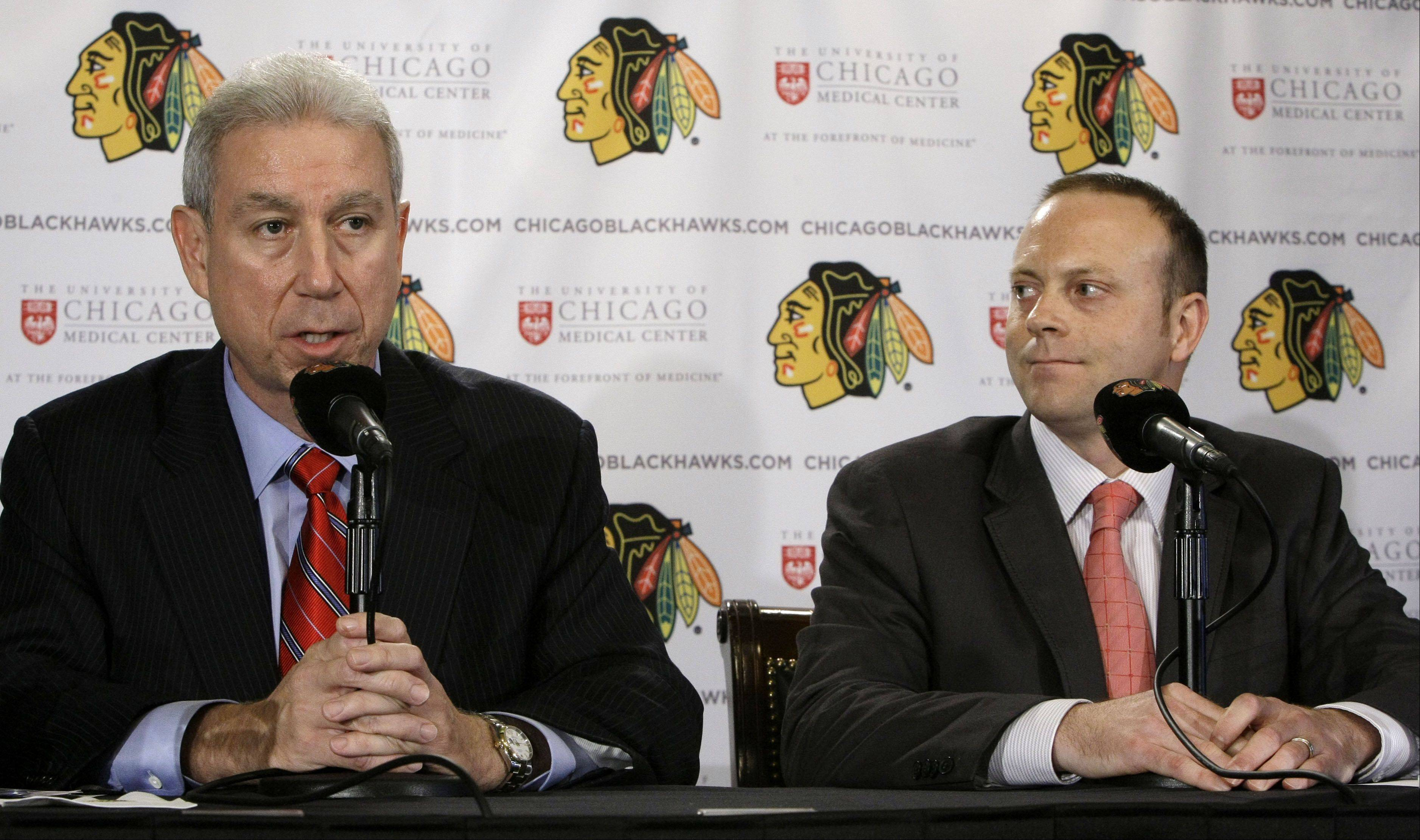 Chicago Blackhawks president John McDonough and GM Stan Bowman say they will miss Bill Peters. Peters, who coached the Blackhawks AHL affiliate for the past three seasons, signed a three-year contract Friday to join the Wings as an assistant to head coach Mike Babcock.