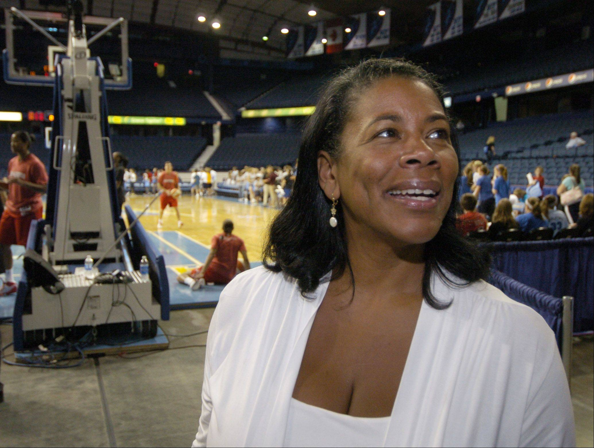 Laurel Richie, president of the WNBA, chats with team personnel prior to a Chicago Sky game at the Allstate Arena in Rosemont.