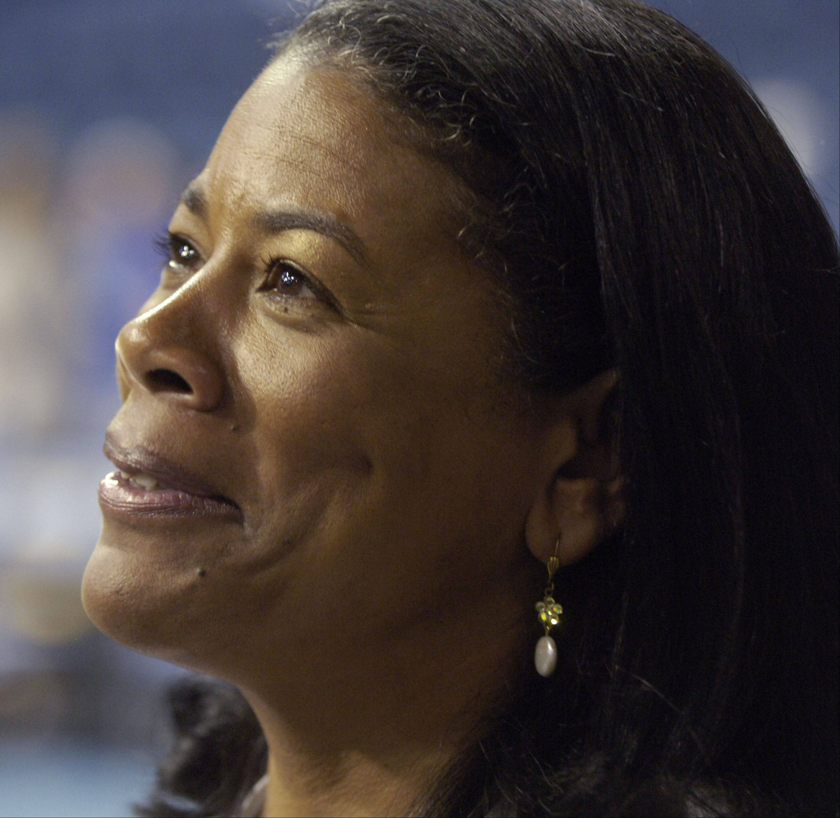 Laurel Richie, president of the WNBA, gives an interview prior to a Chicago Sky game at the Allstate Arena in Rosemont.