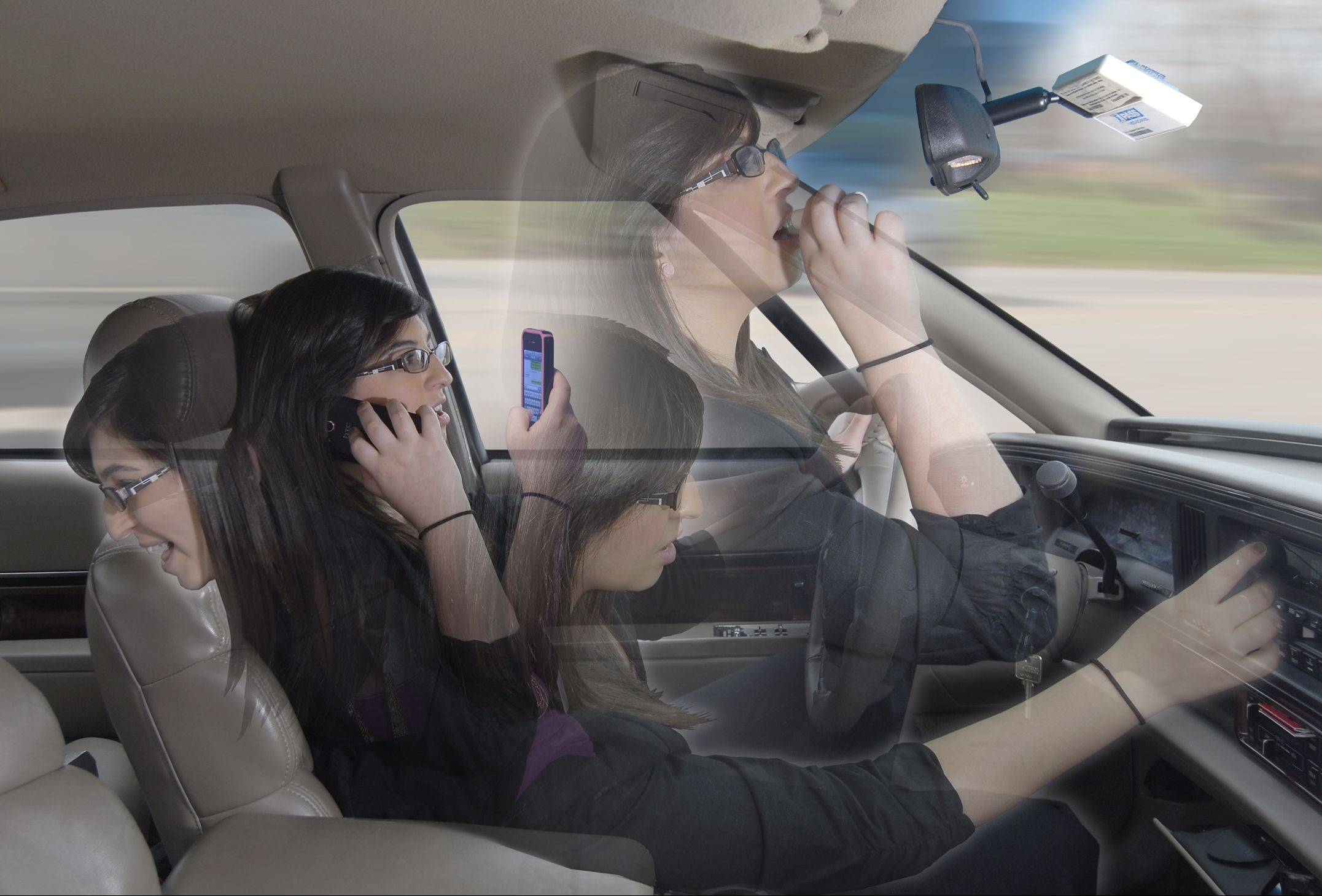 Distracted teen driver.