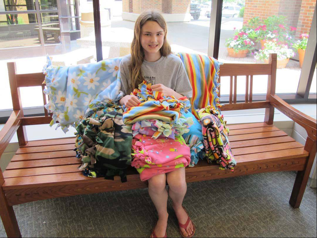 Kimberly Ziegenhorn, 13, of Grayslake recently donated handmade blankets to the Pediatric Unit at Vista Medical Center East in Waukegan.