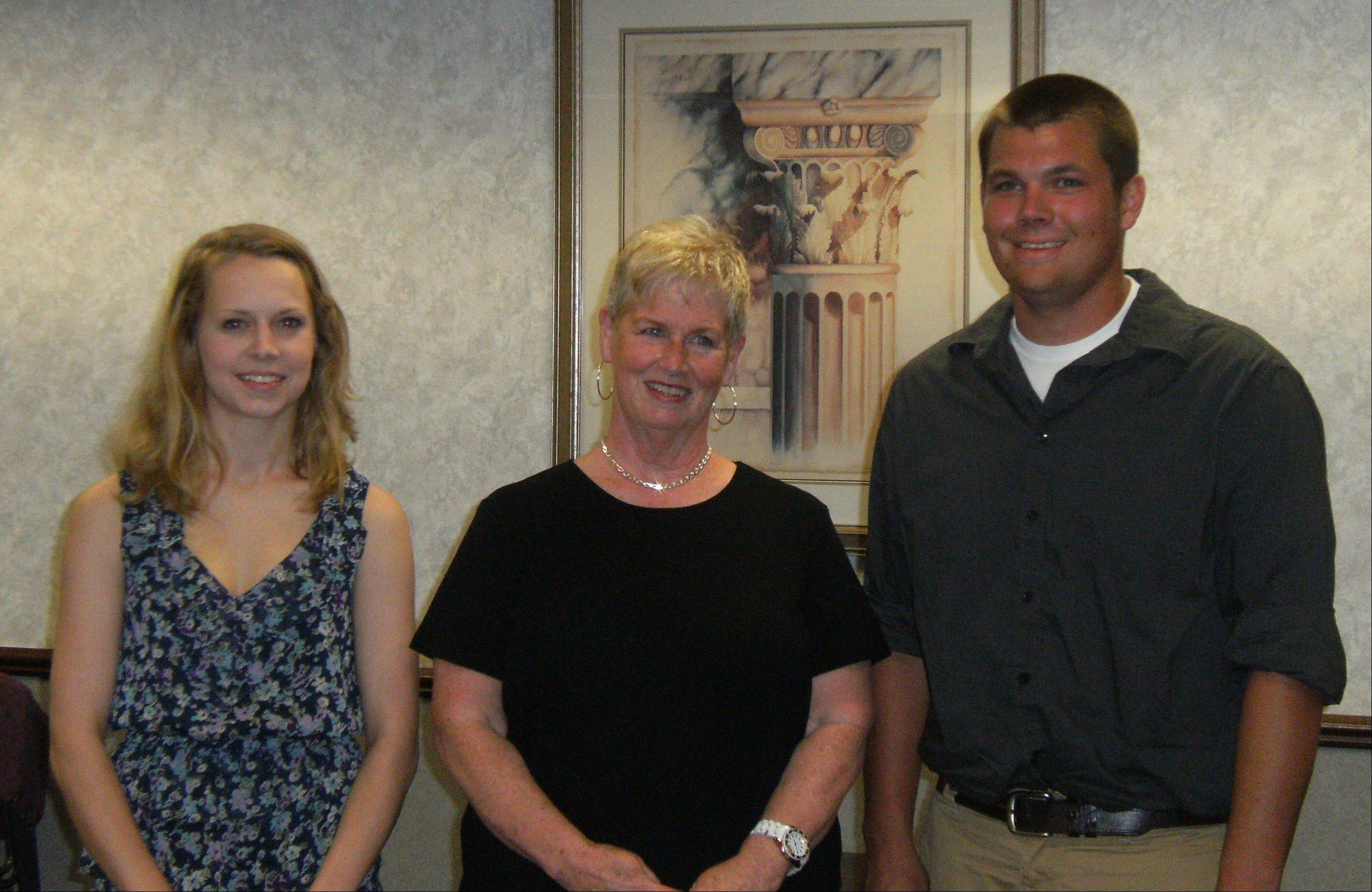 From left, Grayslake Greenery Garden Club scholarship winner Claire Cameron, scholarship chair Kathy Carper and scholarship winner Jeremy Terlap.