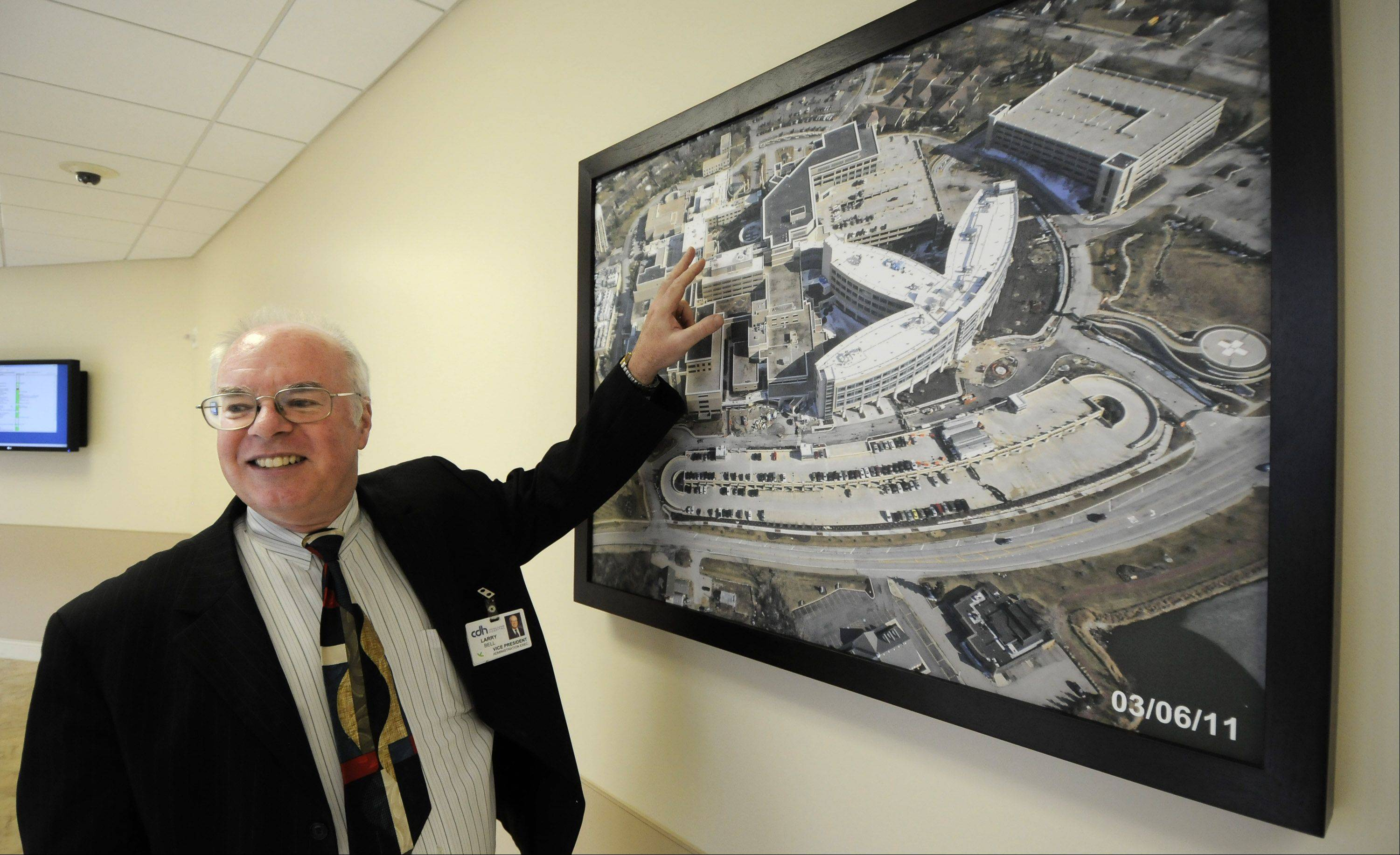 Larry Bell, vice president of construction at Central DuPage Hospital in Winfield, talks about the new patient pavilion that opens next month.