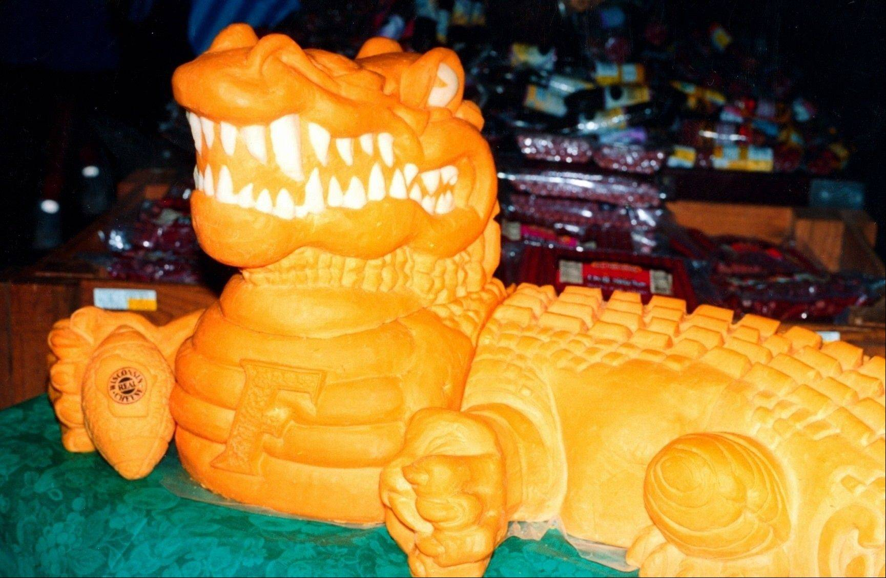 "This 6-foot ""Cheddar Gator"" is to cheese sculptor Sarah Kaufmann what the ""David"" statue is to Michelangelo."