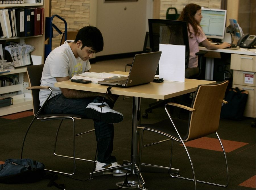 Amol Shah works on an accounting lesson using the wireless Internet during a recent visit to the Aspen Drive Library in Vernon Hills. The library celebrates its anniversary Sunday.