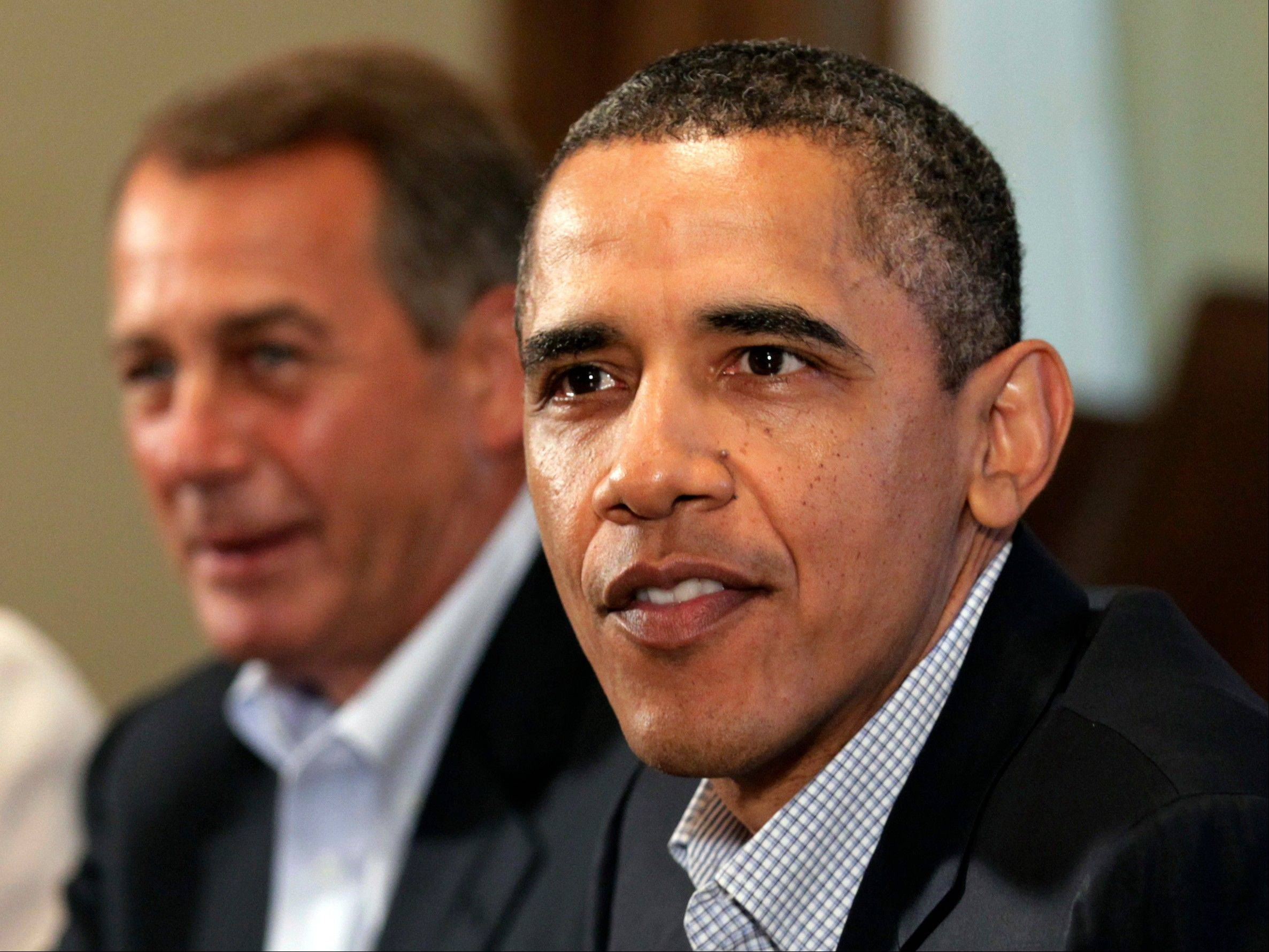 President Barack Obama and House Speaker John Boehner of Ohio, left, met with congressional leadership at the White House on Sunday to discuss the debt.
