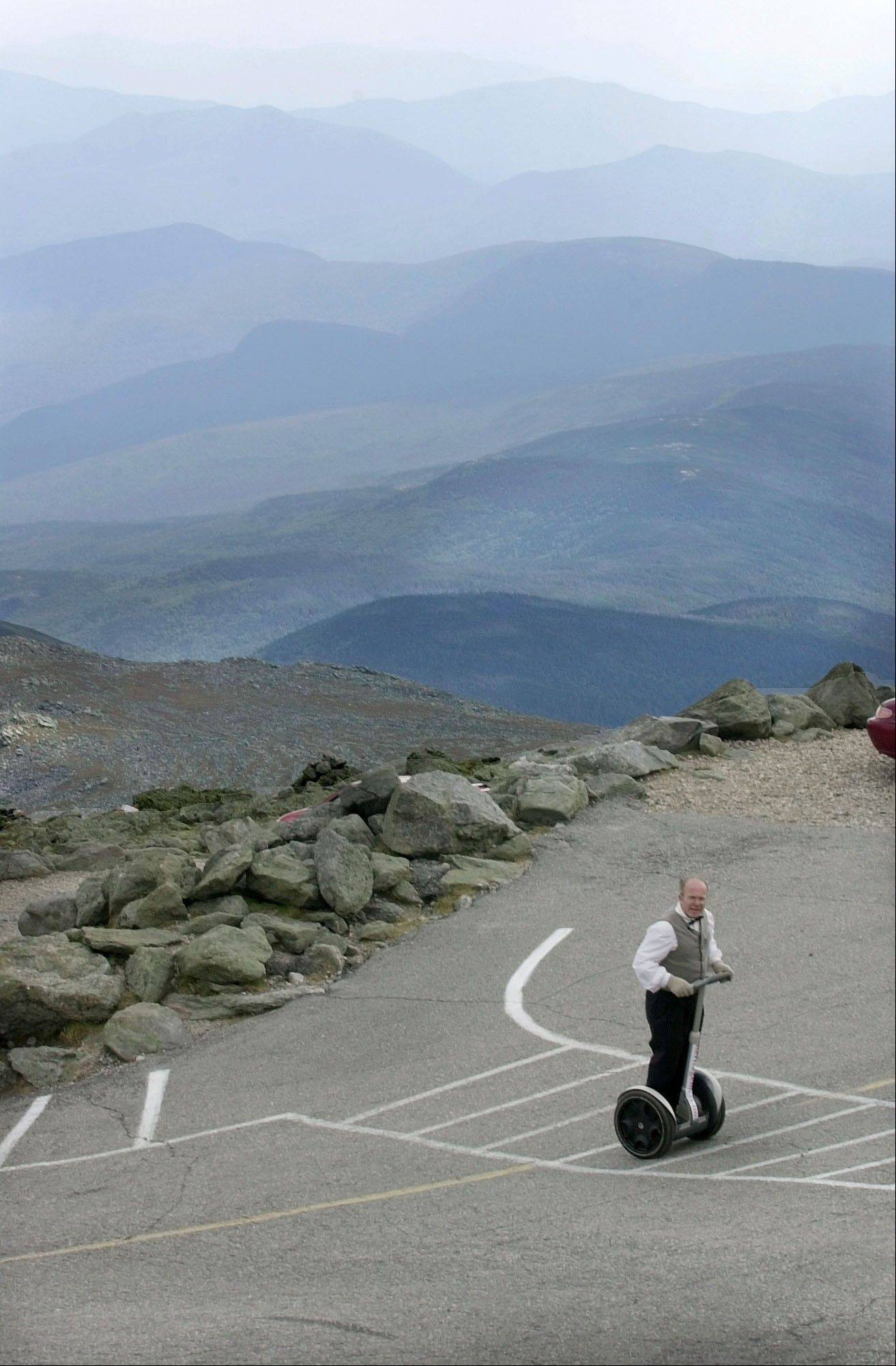 Rob Owens crisscrosses the final section of the Mount Washington Auto Road in New Hampshire on a Segway.