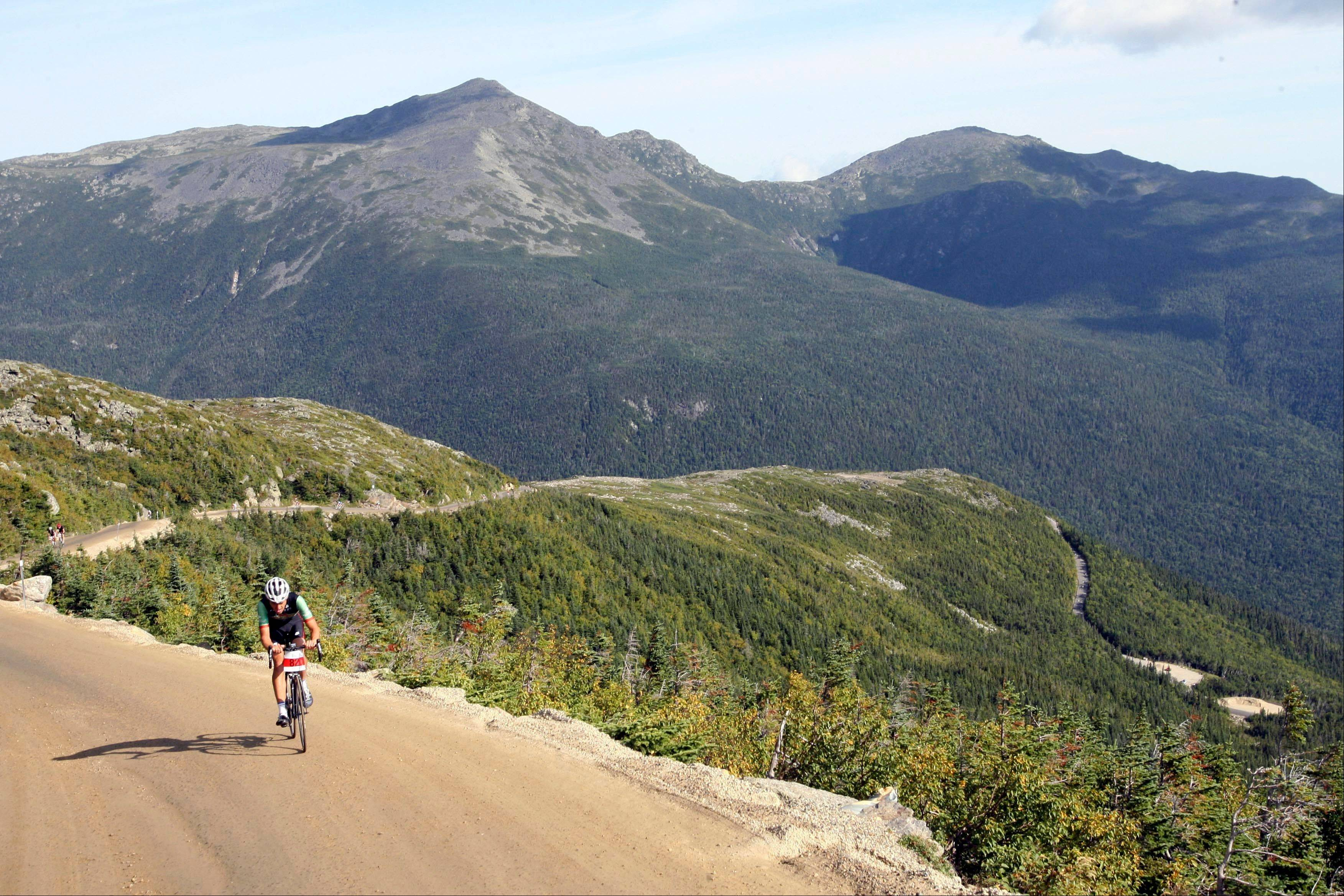 Nico Toutenhoofd peddles up the Mount Washington. The Auto Road is celebrating its 150 anniversary this summer.