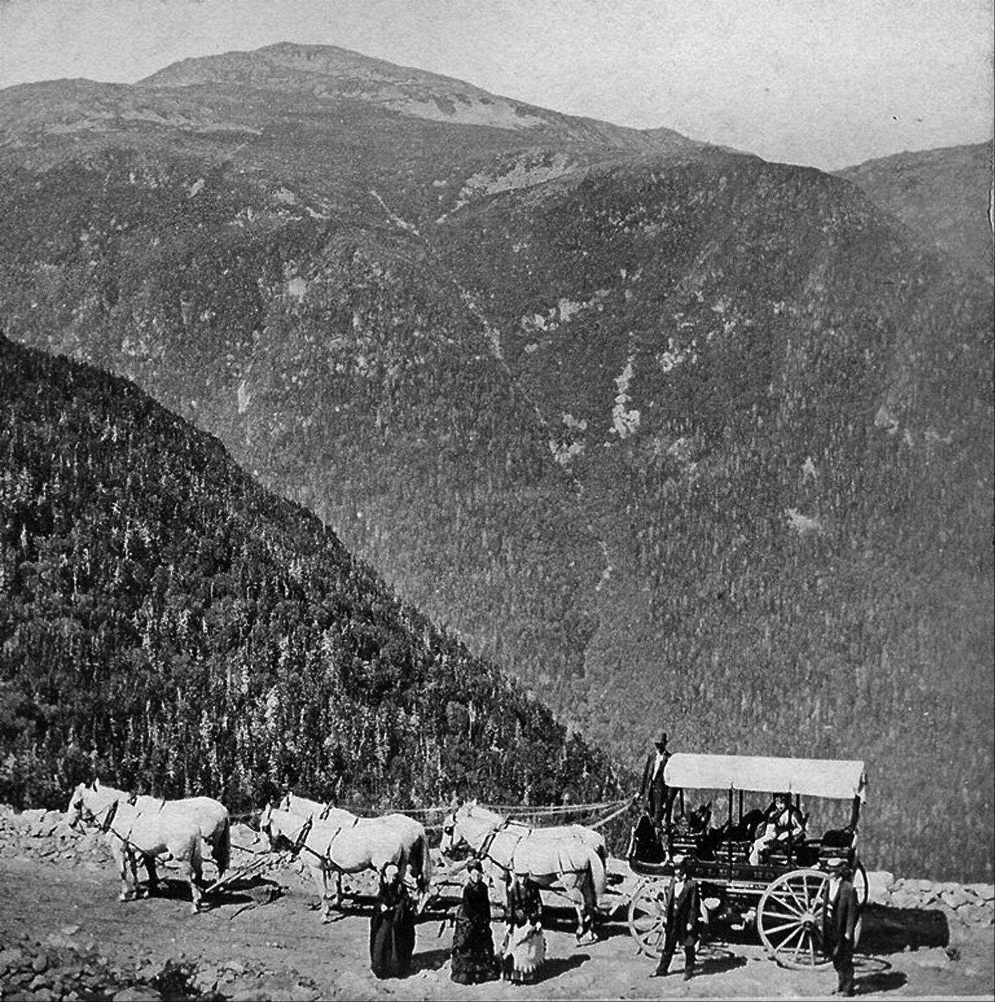 A horse-drawn carriage stops for a break along the Mount Washington Auto Road in New Hampshire.