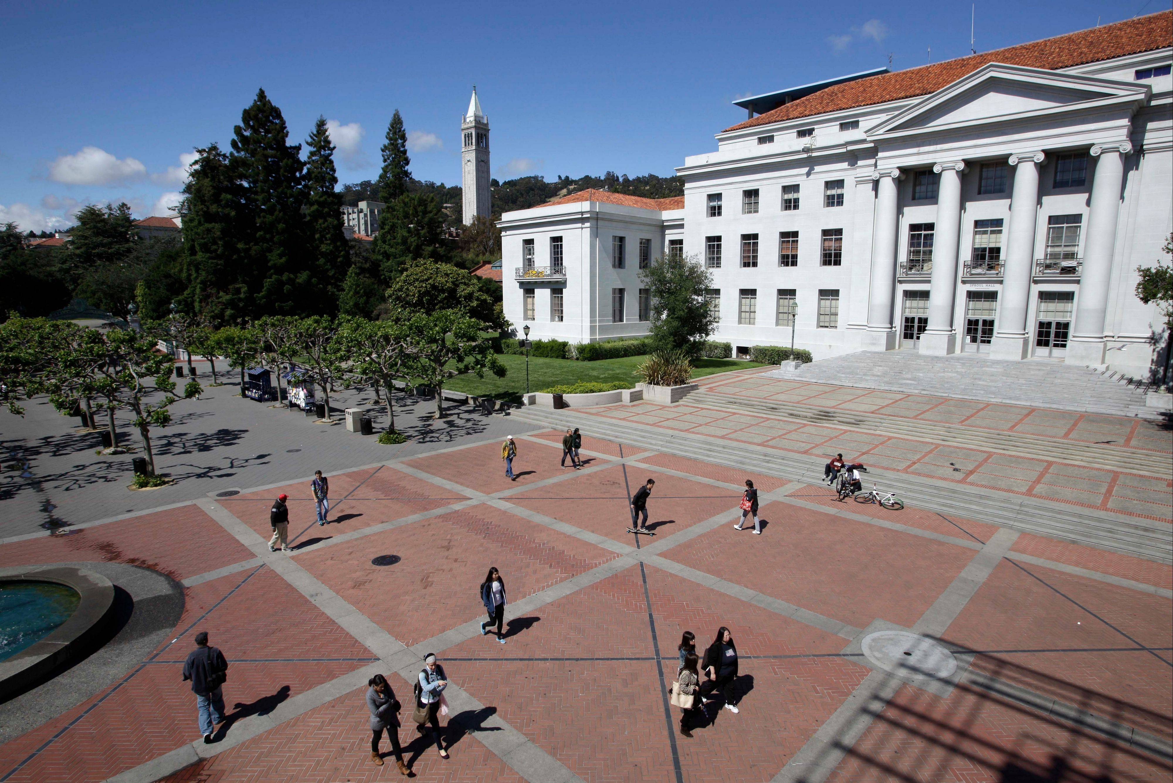 Life is quiet on Sproul Plaza on the University of California, Berkeley campus.