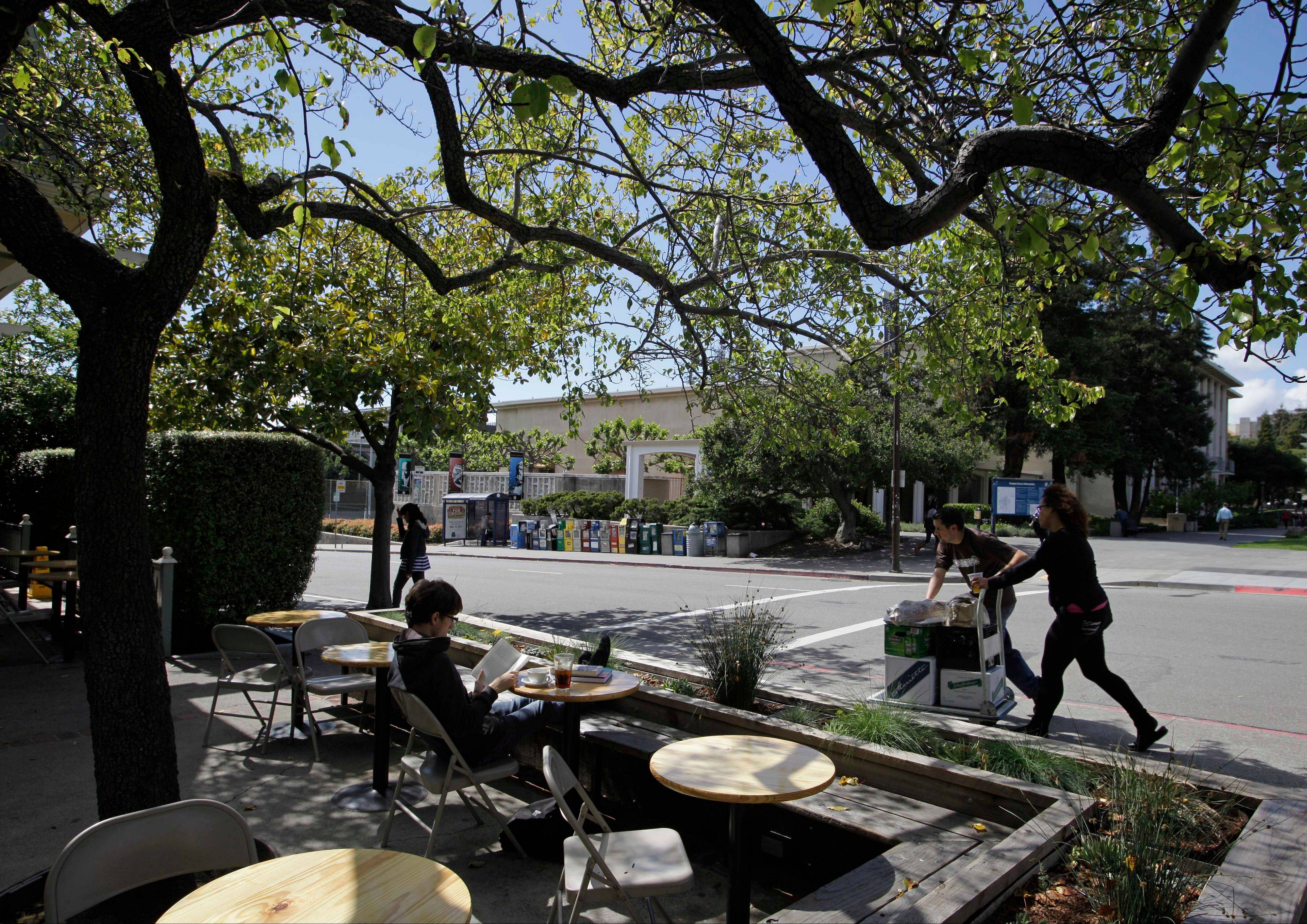 The Caffe Strada is a hangout in the liberal college town of Berkeley.