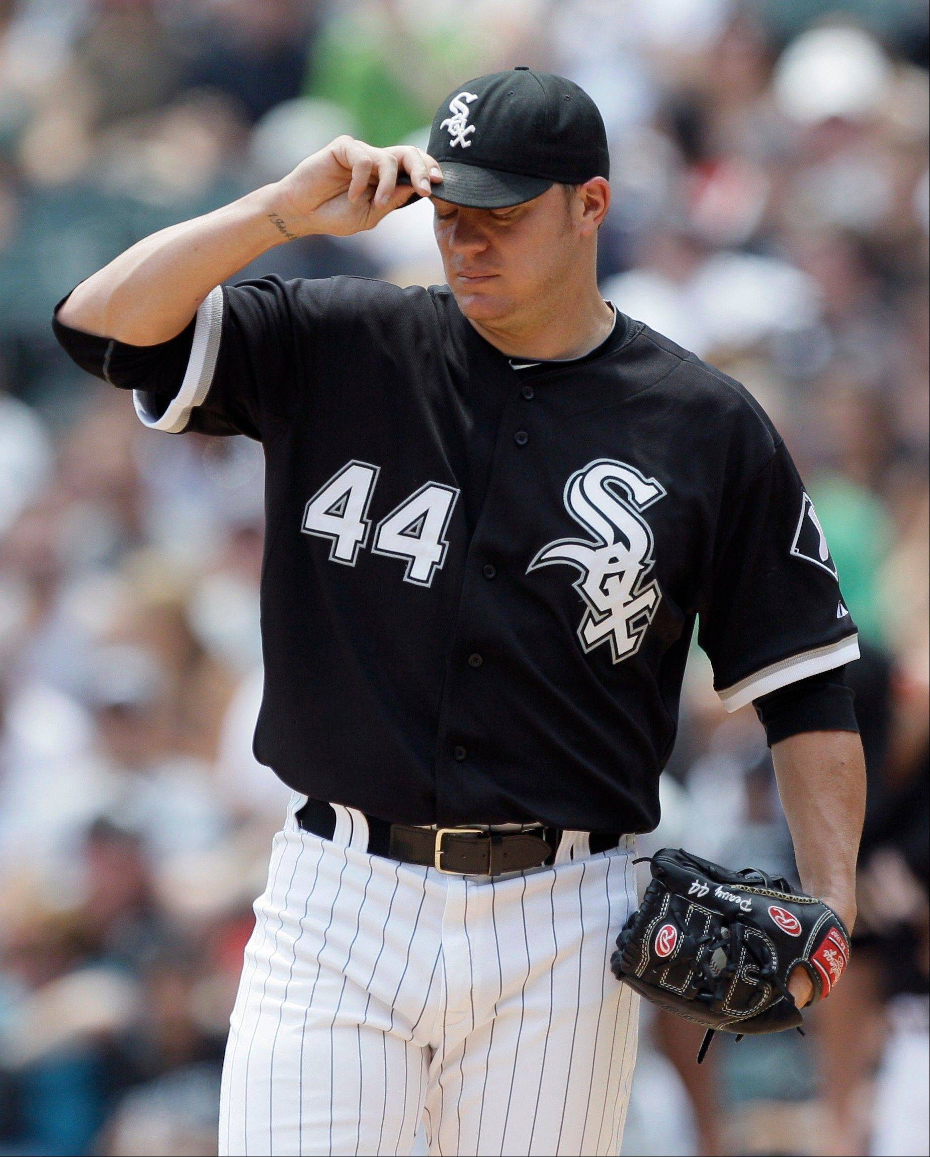 White Sox starter Jake Peavy allowed 5 runs on 10 hits in Sunday's loss to the Twins at U.S. Cellular Field.