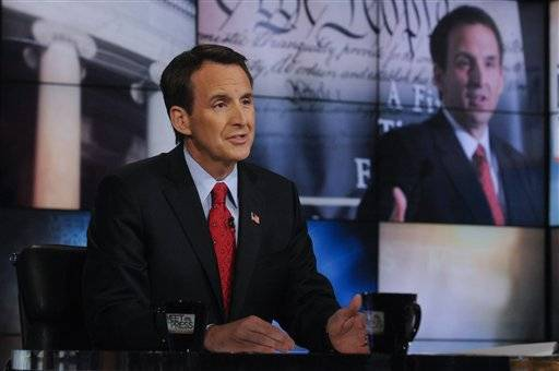 "In this photo provided by NBC News Republican presidential candidate and former Minnesota governor Tim Pawlenty speaks on NBC's ""Meet the Press"" in Washington, Sunday, July 10, 2011."