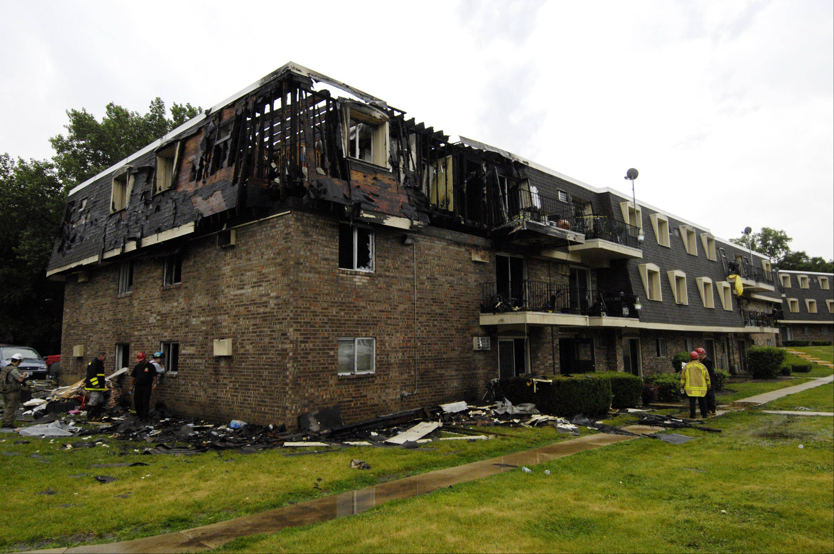 Firefighters are probing the cause of an early morning blaze Monday that displaced more than 50 residents from Aspen Ridge Apartments on the 500 block of Carriage Drive in West Chicago. Officials said no residents were hurt, but one firefighter was treated for a slight injury.
