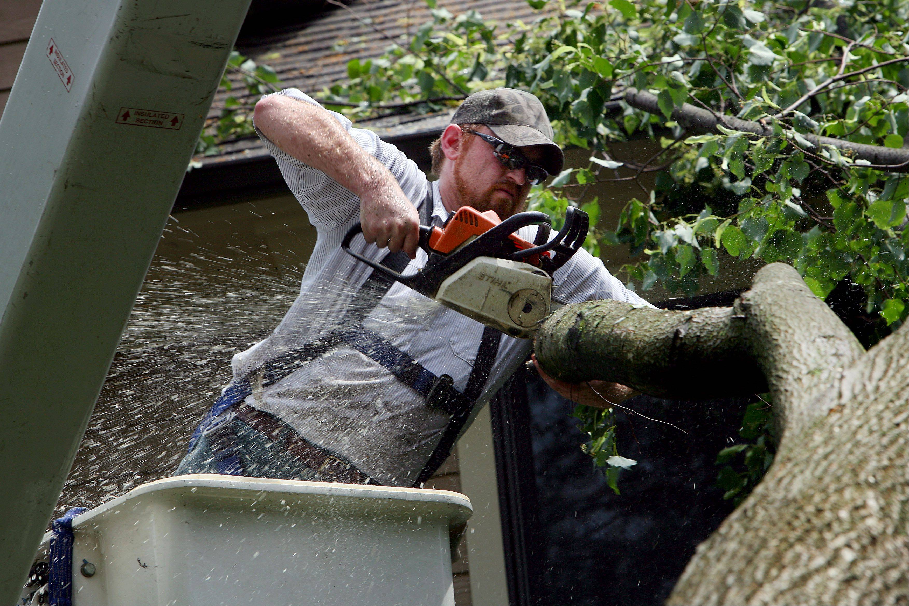 Dave Heurich with Libertyville Public Works tries to remove tree limbs that fell into a house on the 200 block of Second Street in Libertyville Monday morning after a dangerous thunderstorm blew through the area.