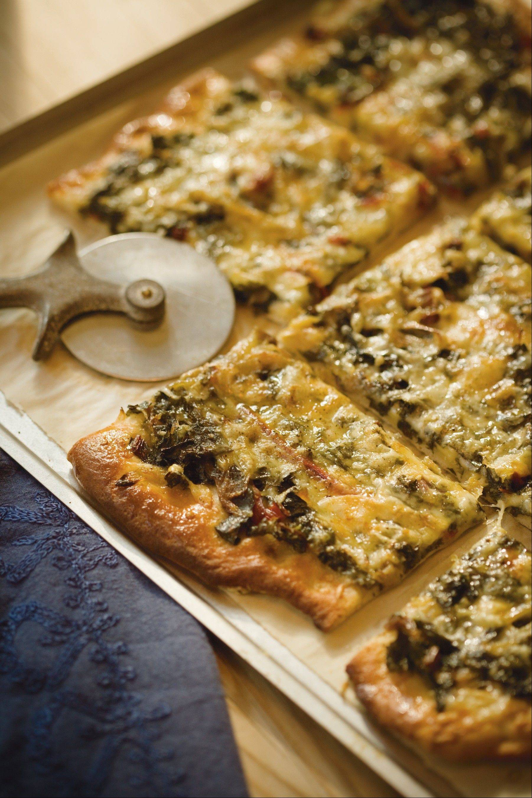 "As a light supper or sophisticated appetizer, a pizza topped with bitter greens and havarti from ""Eat Greens"" does the trick."