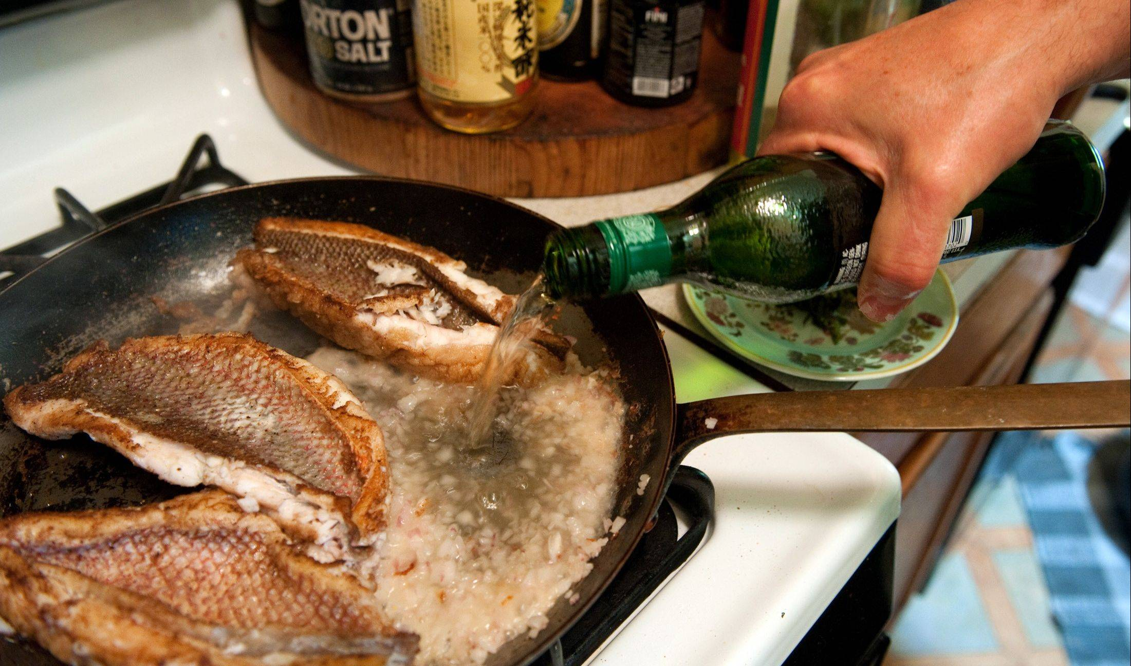 Rob Stewart adds vermouth to sauteed snapper fillets to get a quick sauce going. The Bordeaux-style dish fits perfectly into a summer menu.