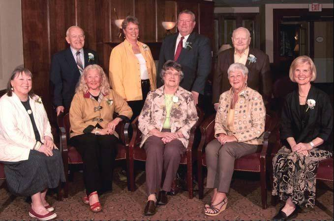 New members of the Barrington Area Senior Citizens Hall of Fame, from left, are: Front row: Carol Nelson, Sylvia Boeder, Connie Schofield, Carol McGregor and Bonnie Murray; back row: Gerald Barry, Ginger Underwood, Art Rice and Harry Logue. Not pictured: Donald Semla.