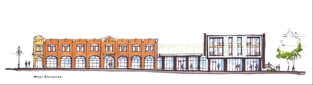 Artist's rendering of the proposed art space facility to be built on the former ECC Fountain Square property in downtown Elgin.
