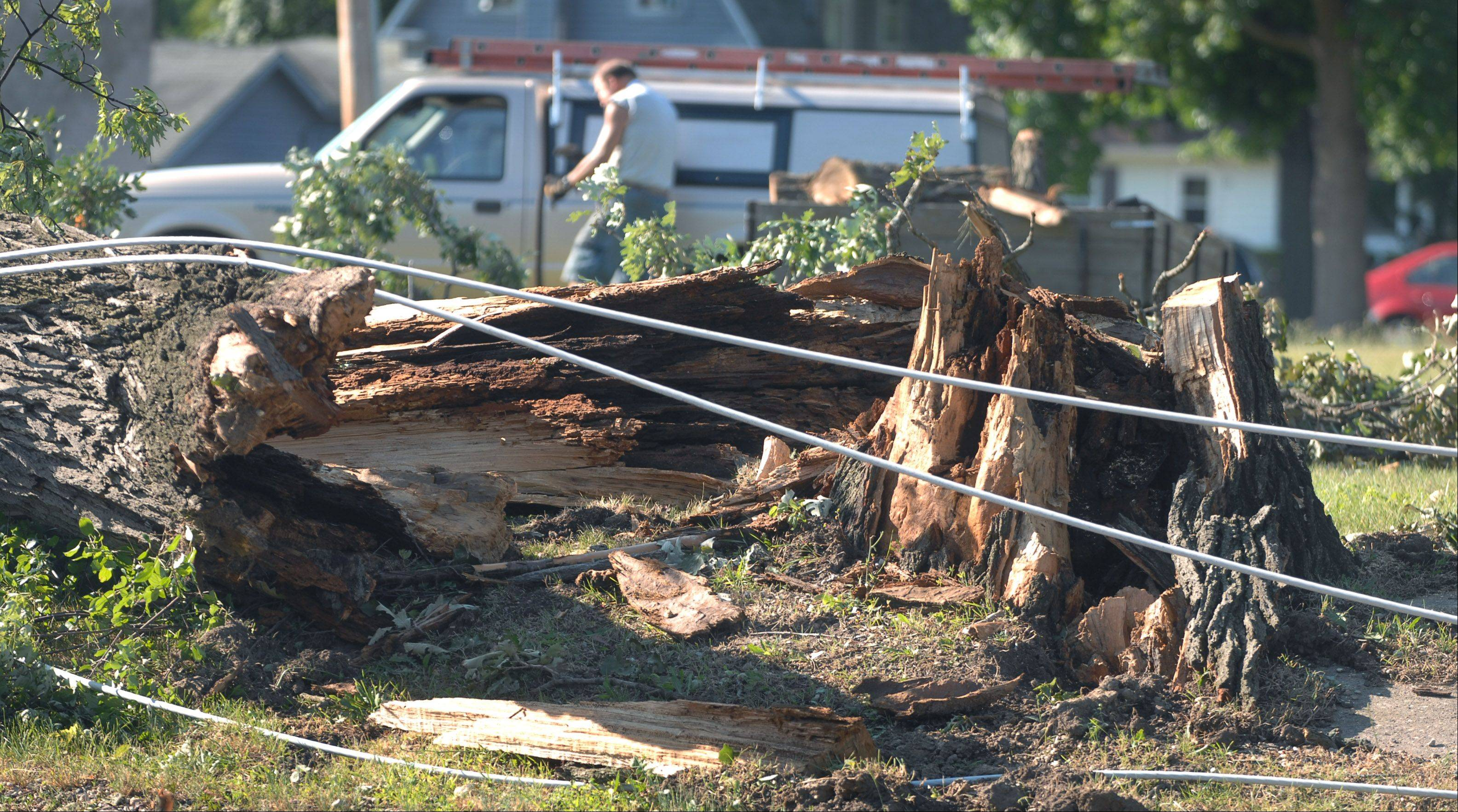 Downed power lines and fallen trees remain Tuesday morning along Grand Avenue in downtown Lake Villa.