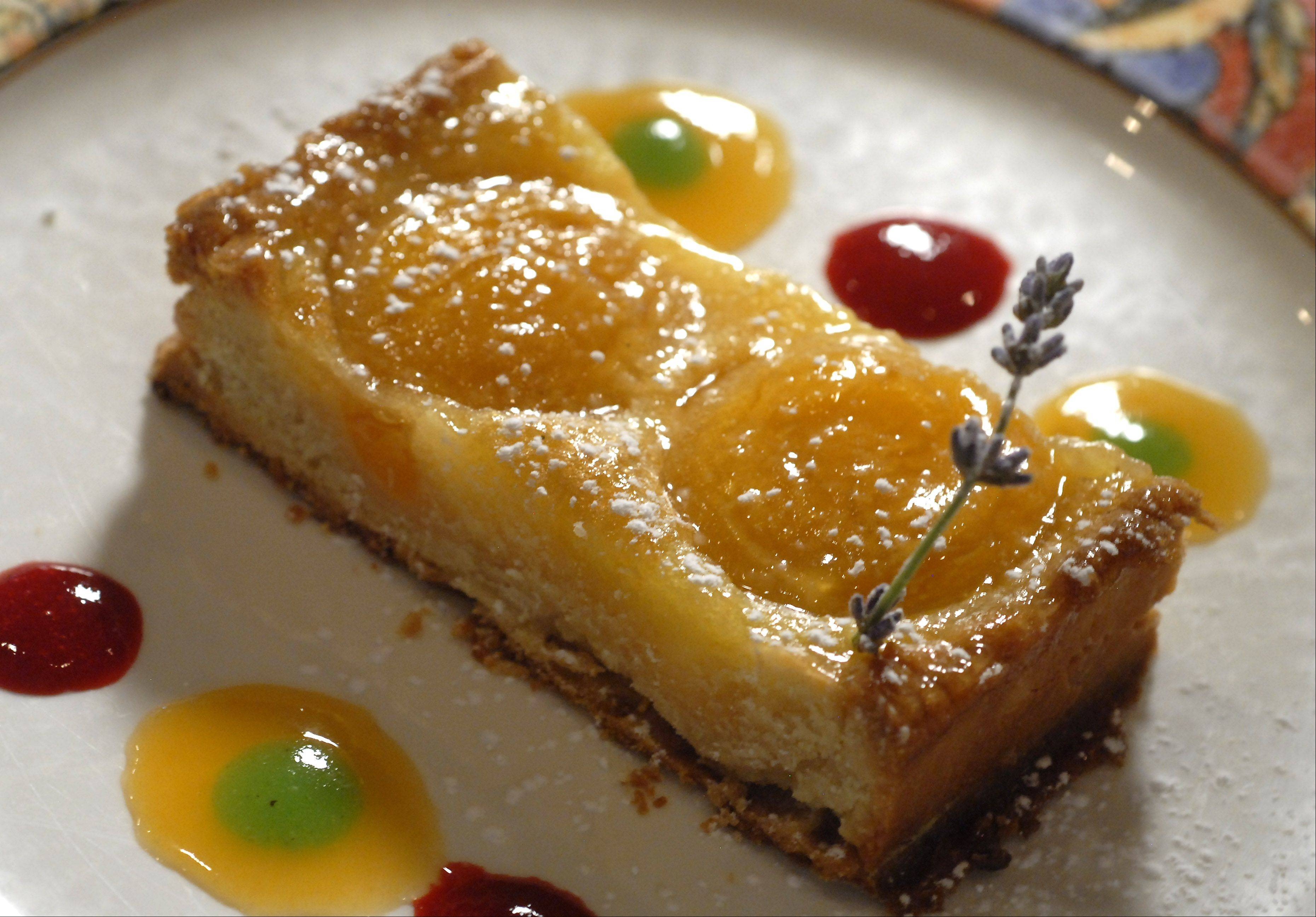 Apricot tart by Chef Michael Maddox at Le titi de Paris restaurant in Arlington Heights.
