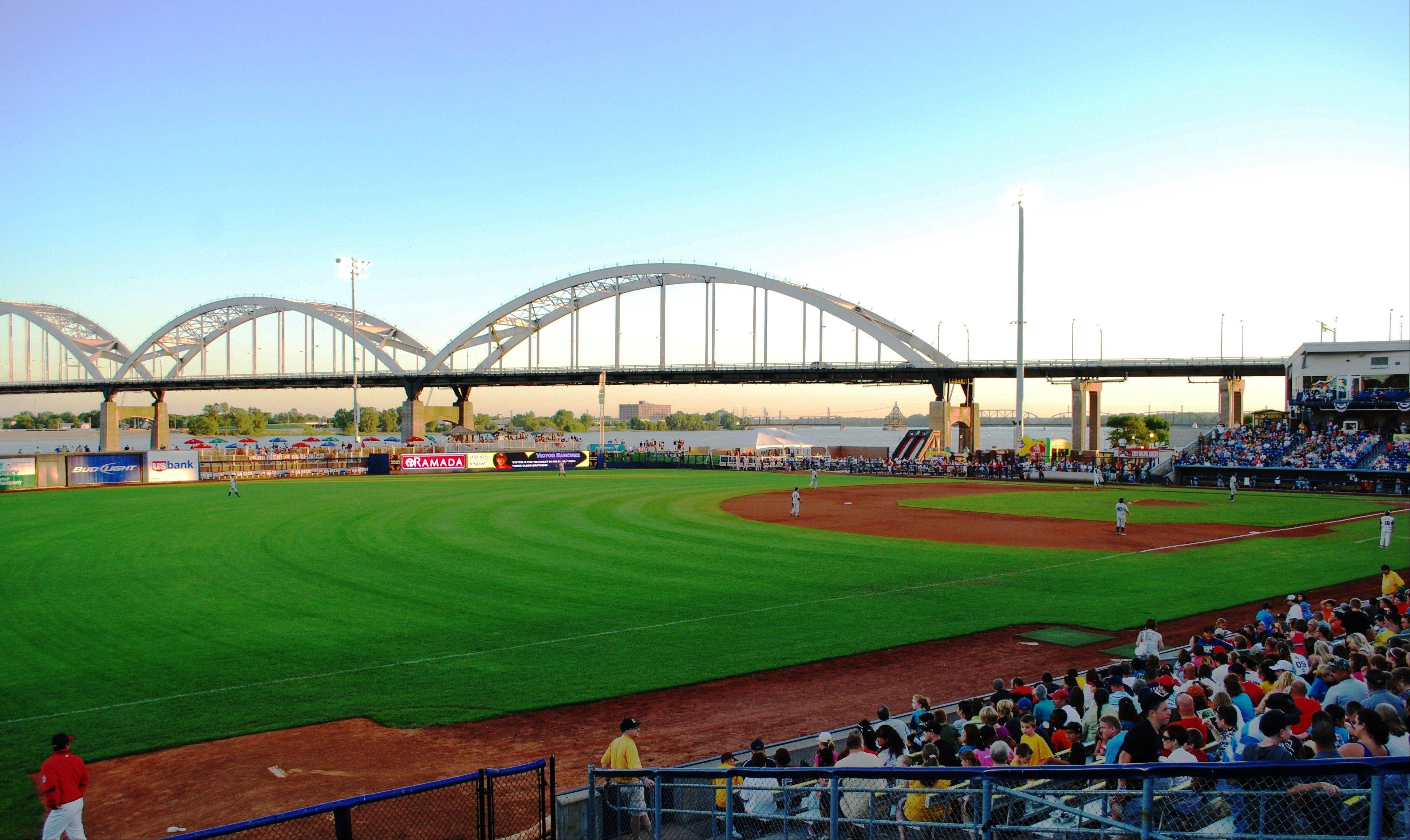 The view from inside Modern Woodmen Park in Davenport, Iowa, is ideal for both baseball and birds.