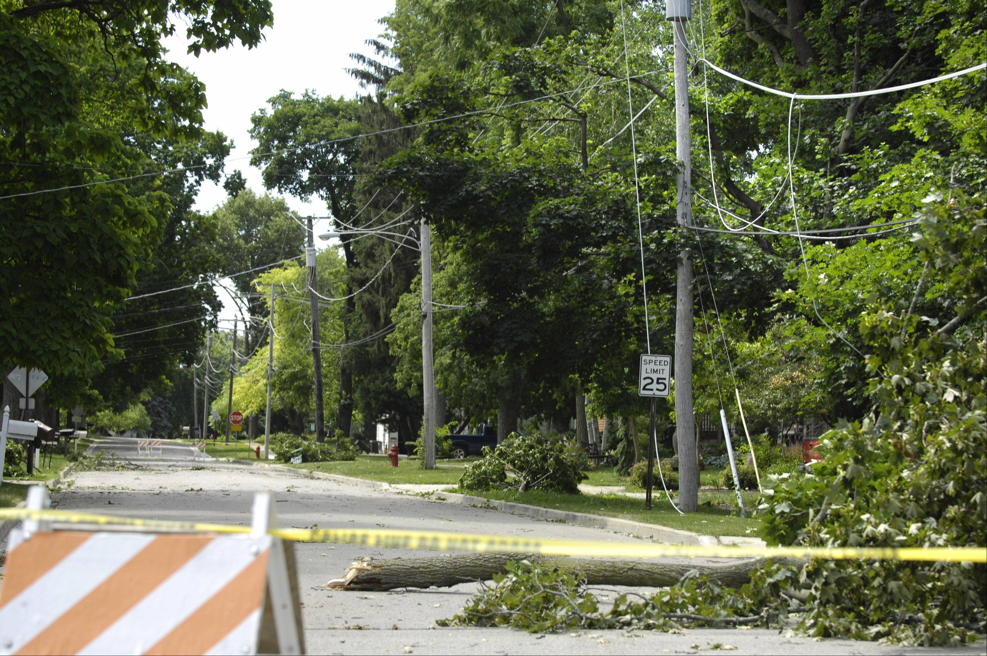 Grove Street in Huntley is closed while tree limbs lay on the pavement and wires hang Tuesday.