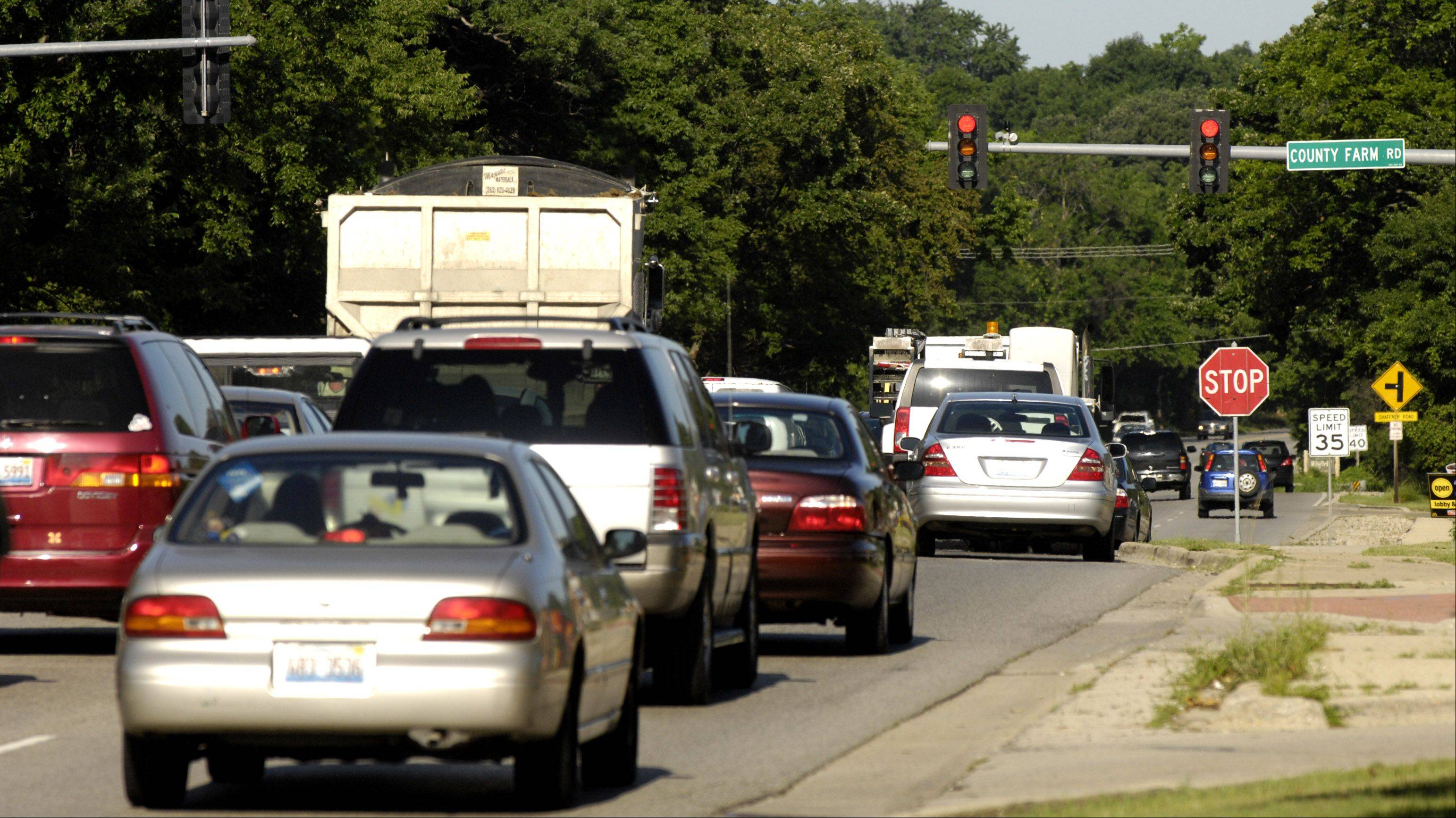 Power outages at the intersection of Route 38 and County Farm Road in Wheaton has affected the traffic lights, causing traffic backups.